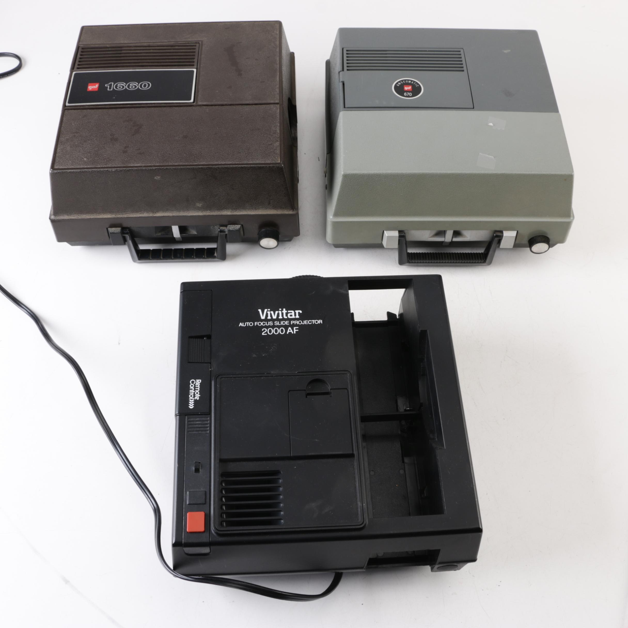 GAF and Vivitar Slide Projectors
