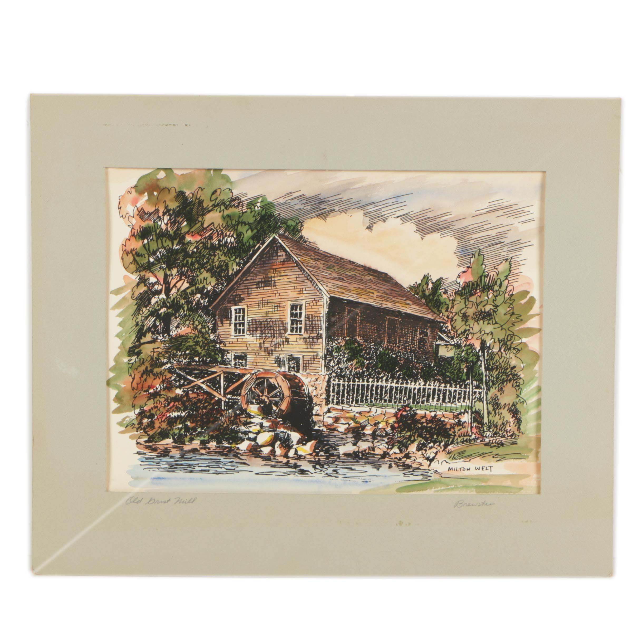 """Milton Welt Late 20th-Century Ink and Watercolor Illustration """"Old Grist Mill"""""""