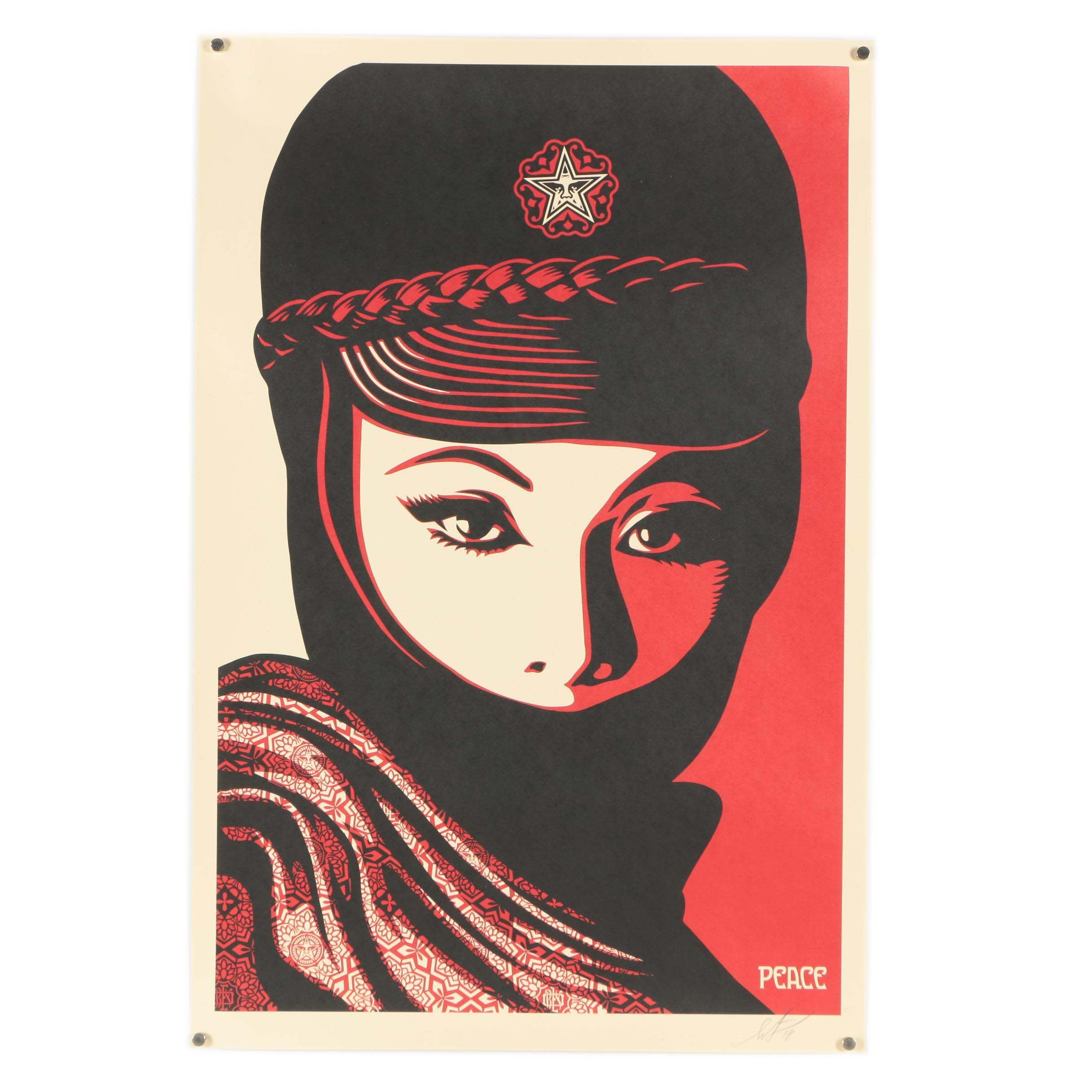 "Shepard Fairey Signed Offset Print ""Peace"""