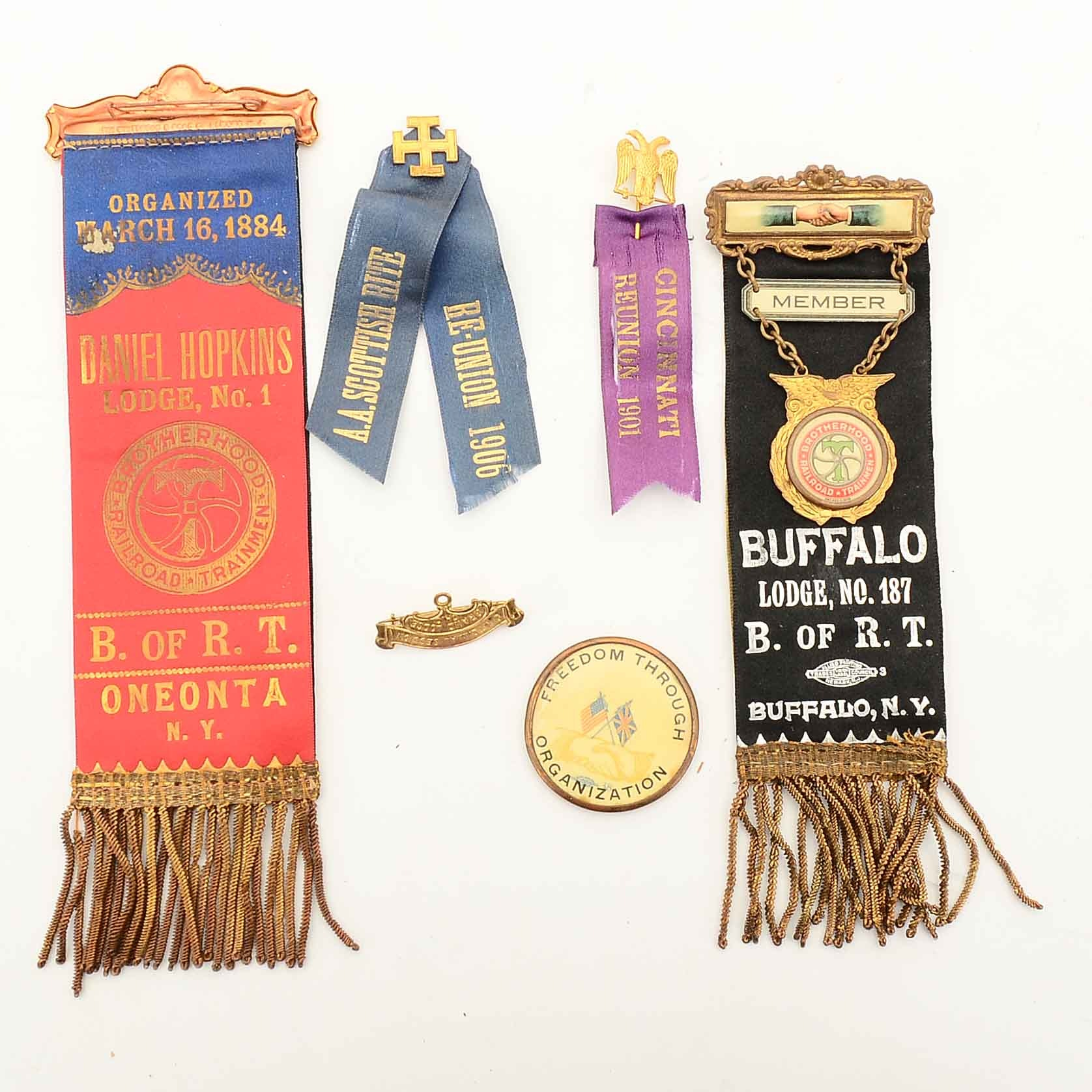 Antique Railroad Union and Masonic Ribbons and Pins