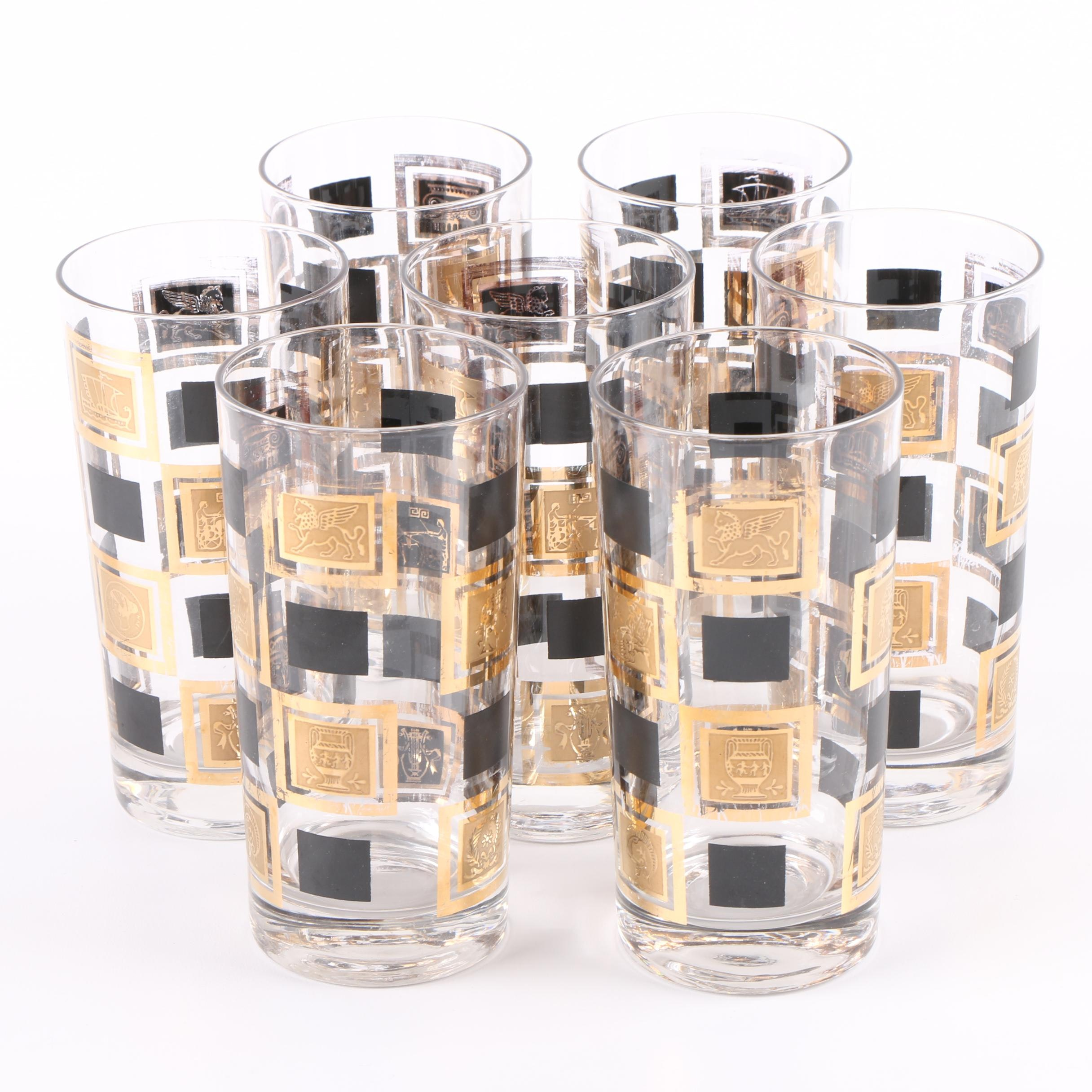 Mid Century Modern Black and Gold Block Glassware