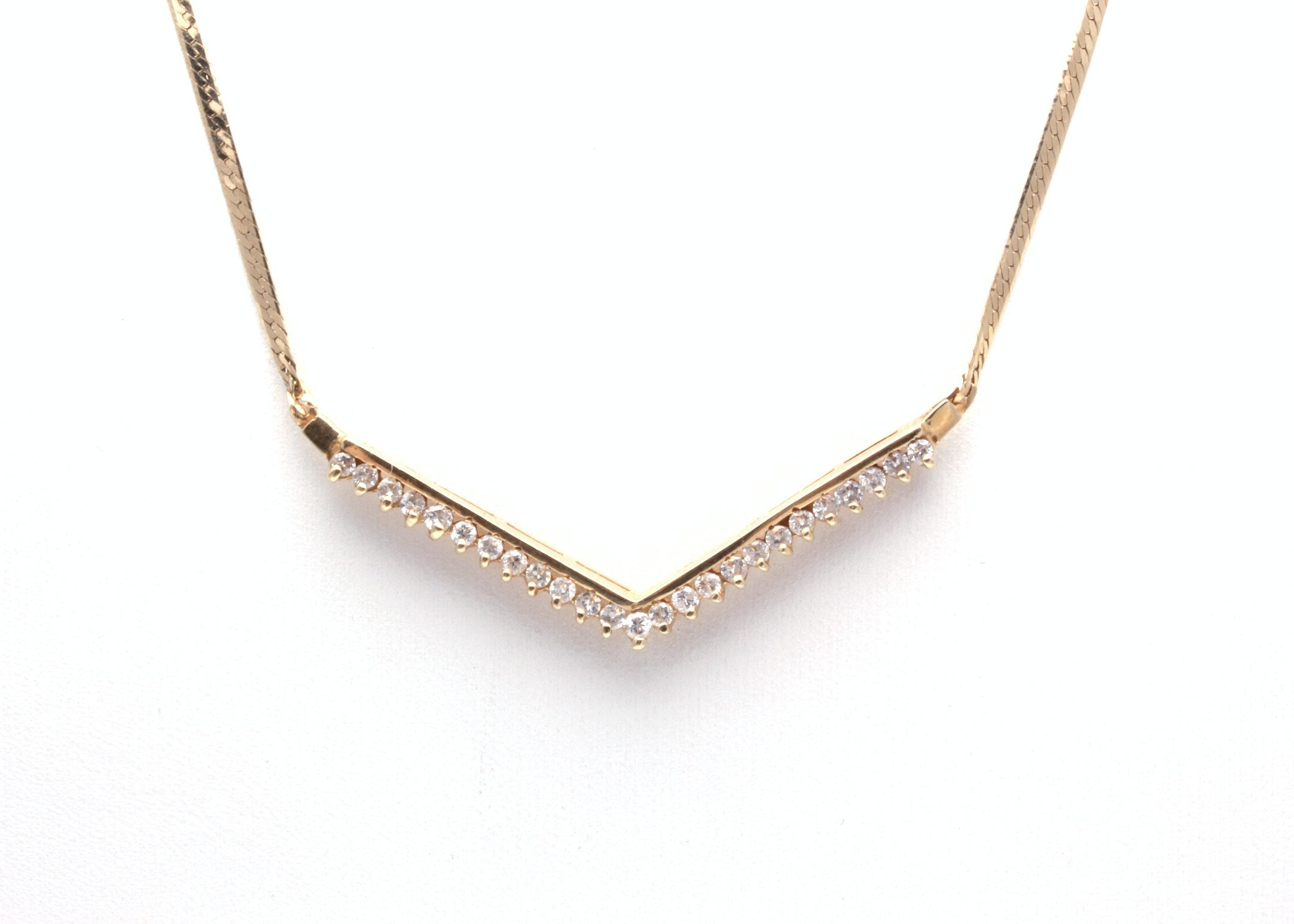 "14K Yellow Gold Diamond ""V"" Necklace"