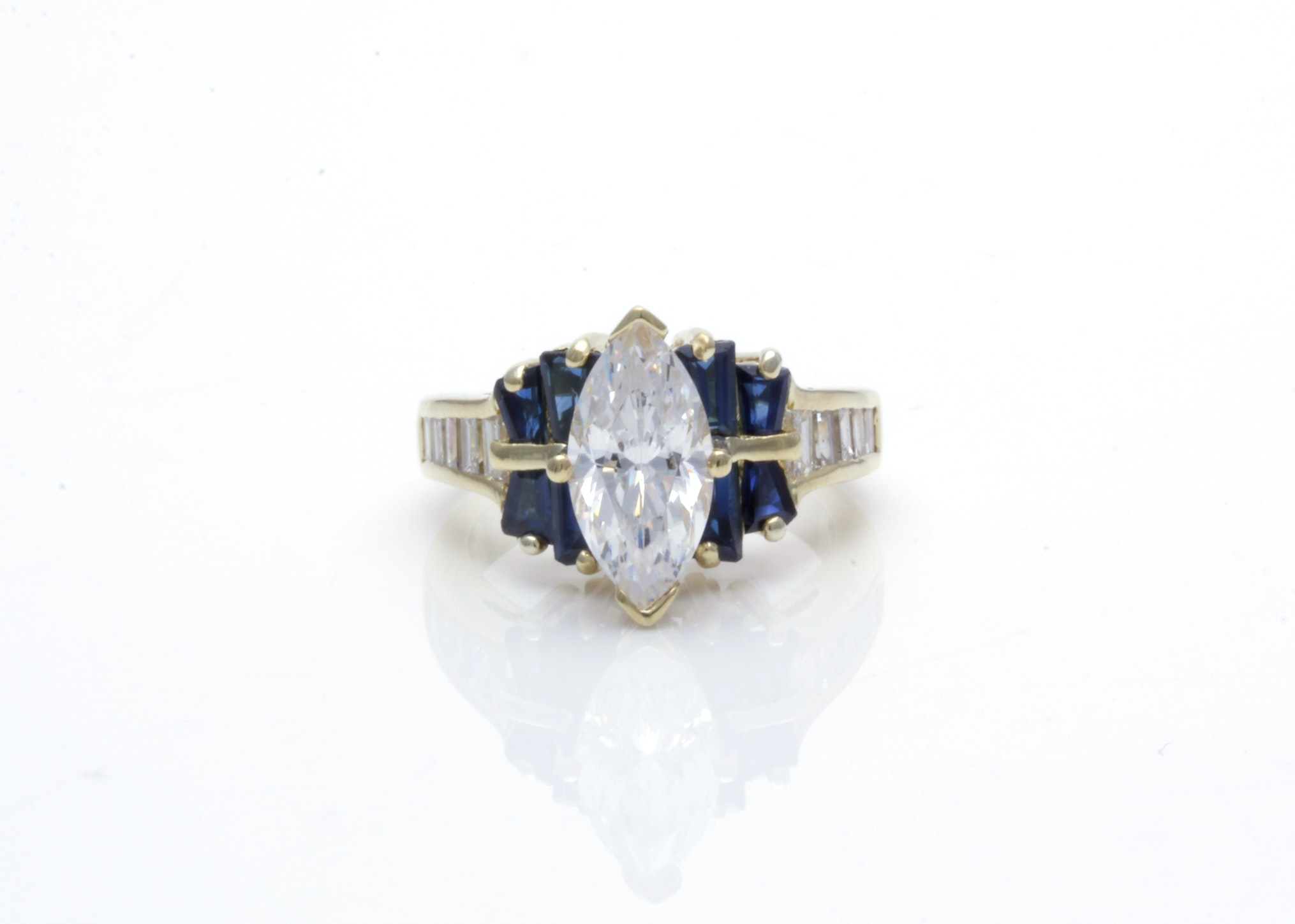 18K Yellow Gold Sapphire and Diamond Ring with Cubic Zirconia Center