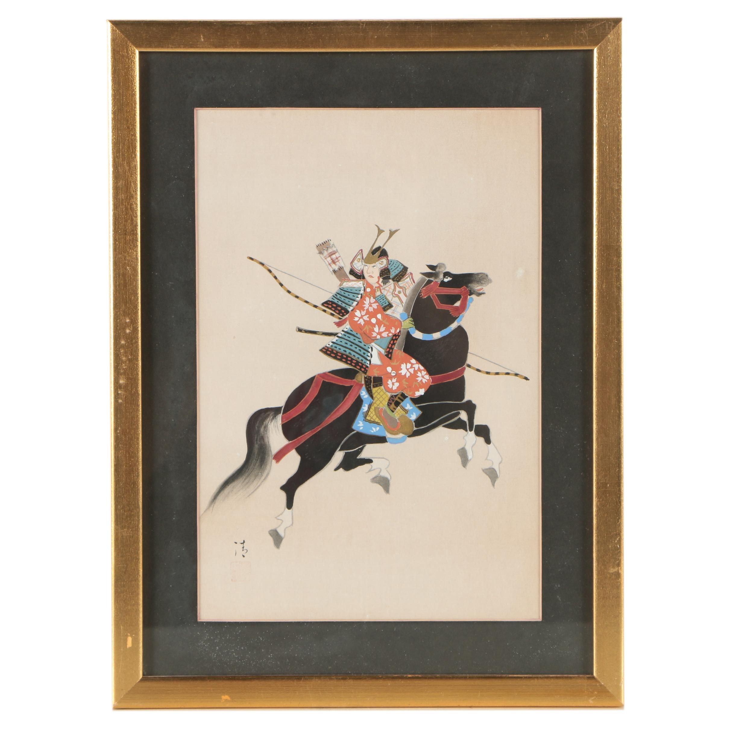 Japanese Gouache Painting of a Samurai Warrior on Horseback