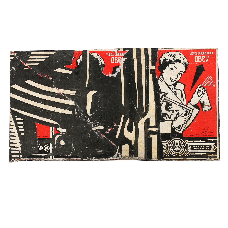 "Shepard Fairey Mixed Media ""Metropole Peace Guard Mural (Detail)"""