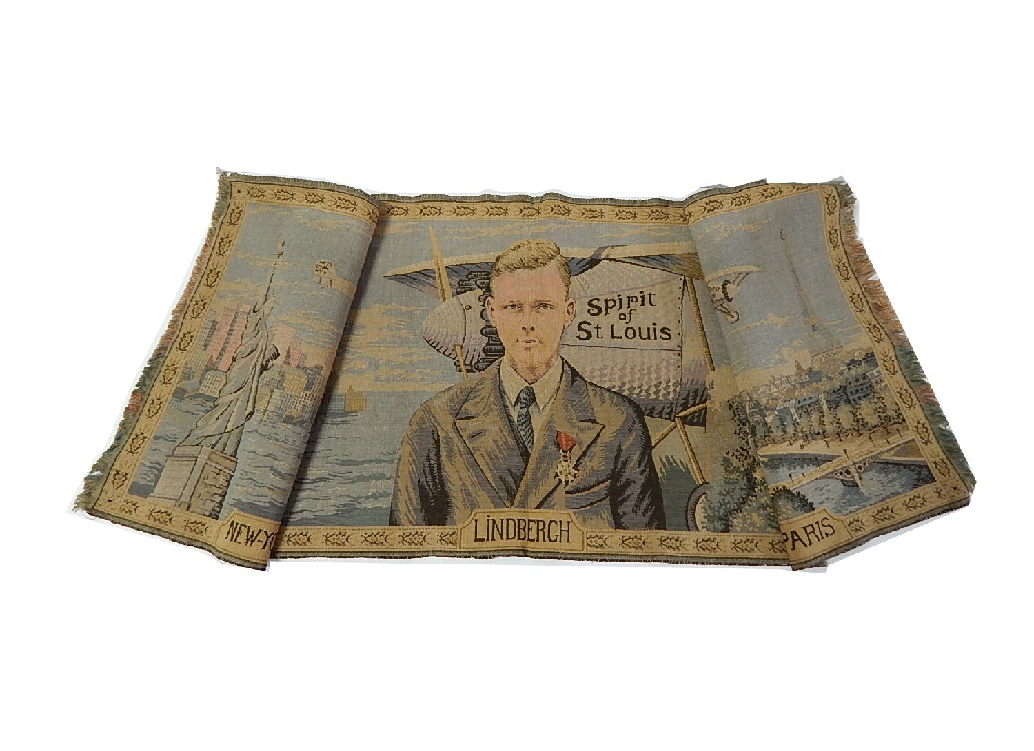 Rare Charles Lindbergh Commemorative French Tapestry