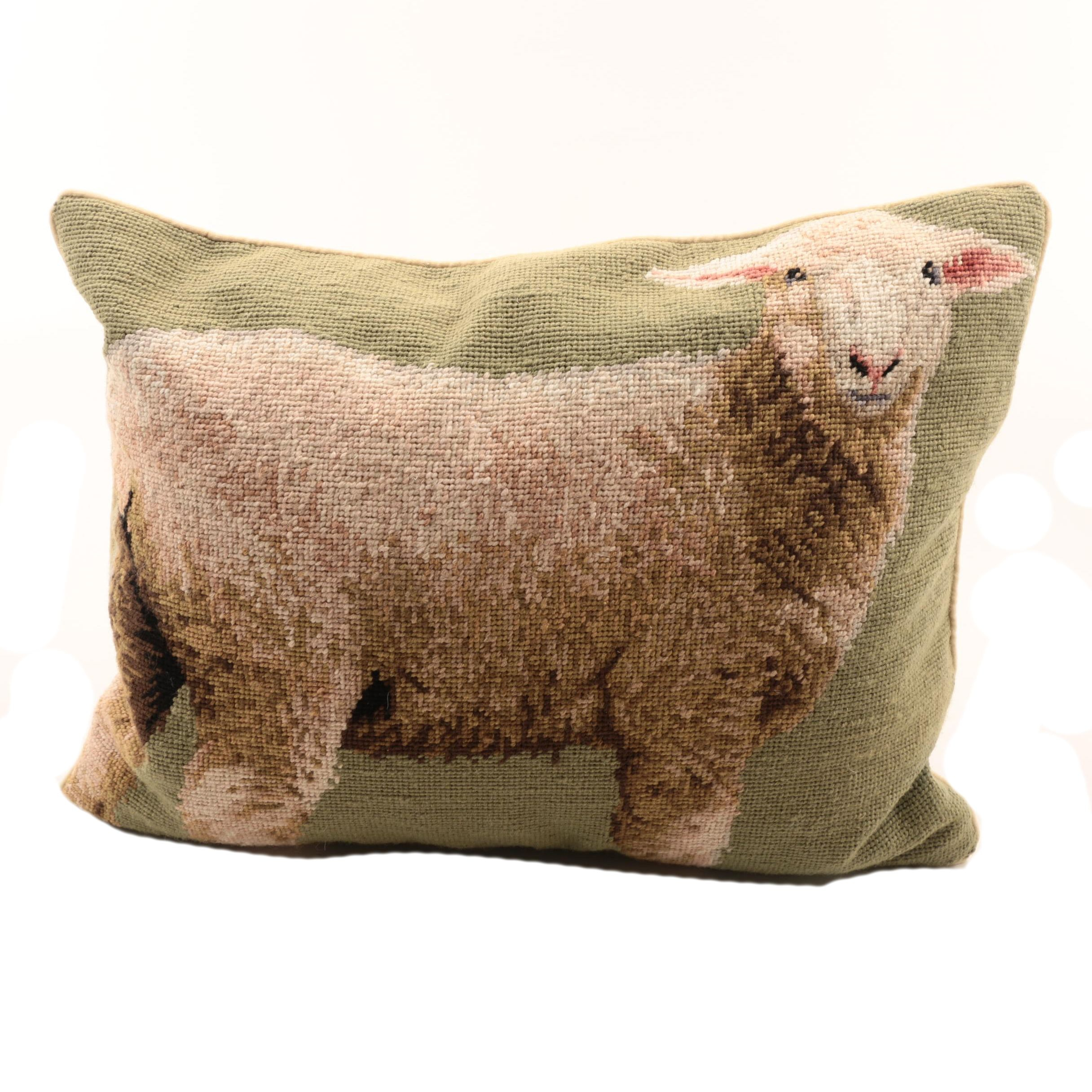 Needlepoint Sheep Pillow