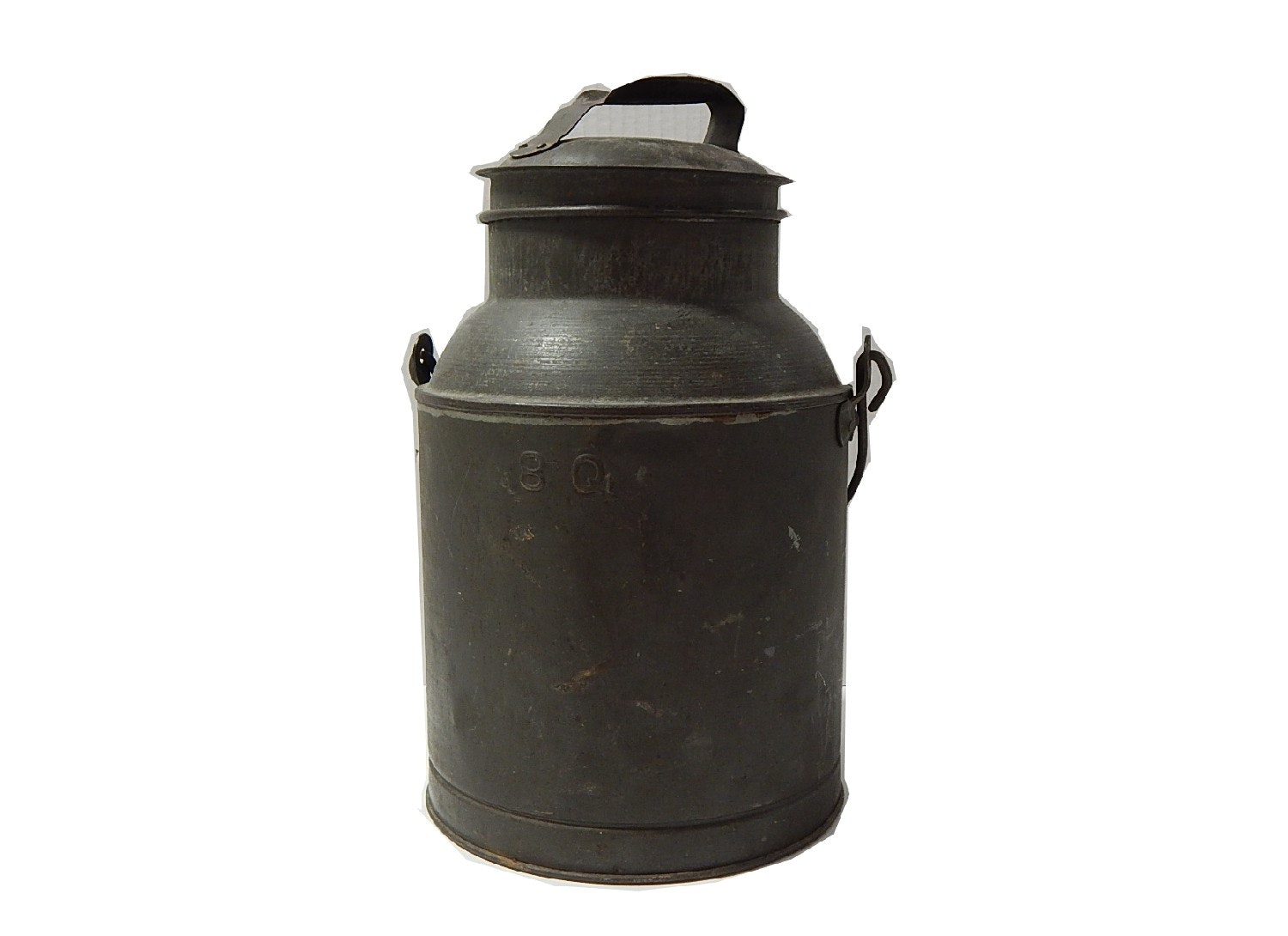 Vintage 8 Qt Metal Milk Can with Bale Handle in Army-Green
