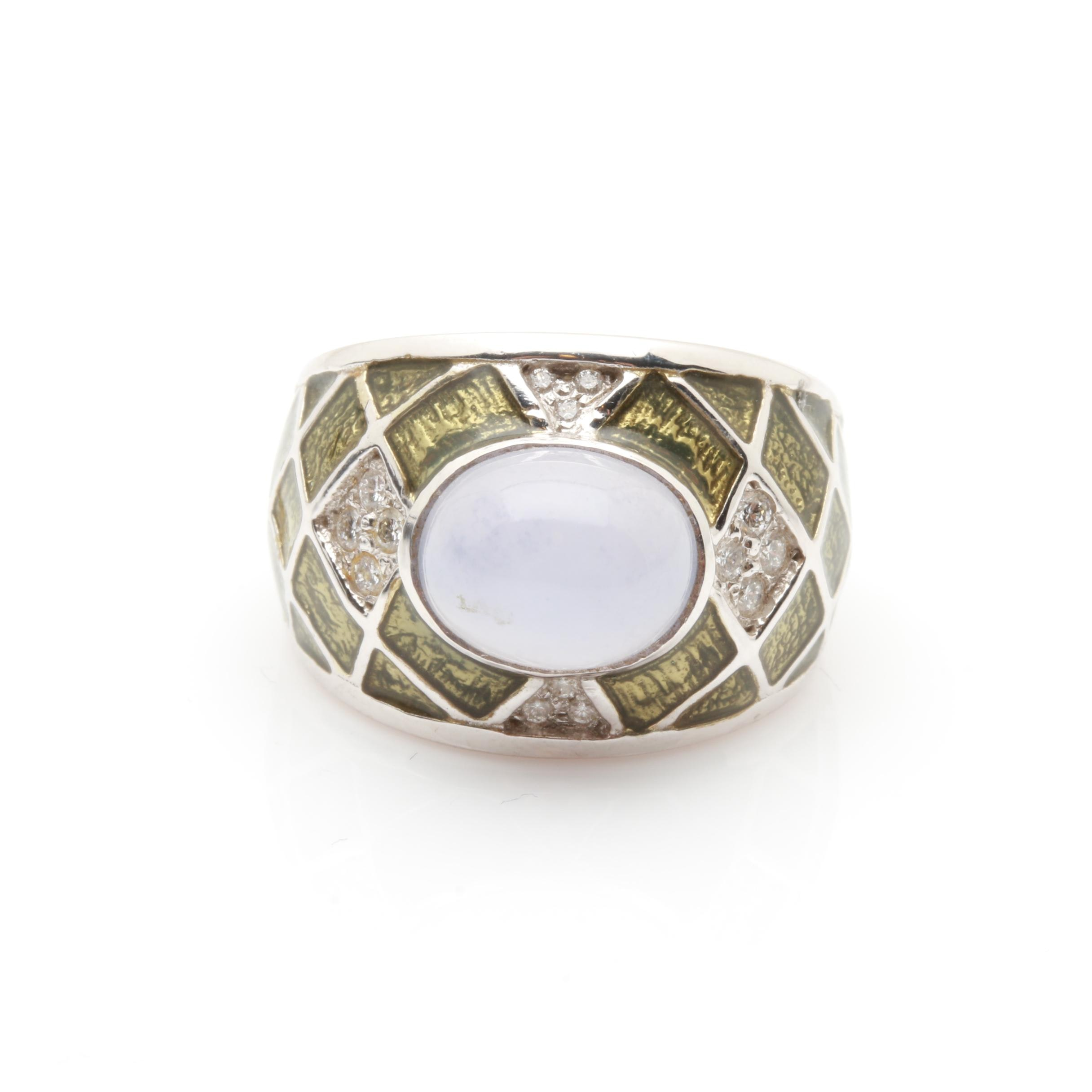 18K White Gold Blue Tourmaline, Diamond, and Enamel Ring