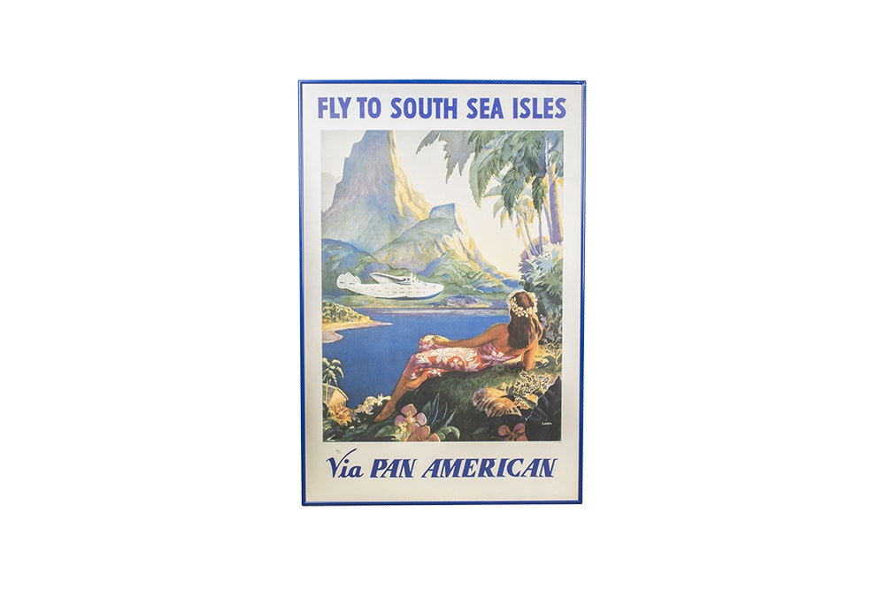 "Reproduction Travel Poster After Paul George Lawler ""Fly to South Sea Isles"""