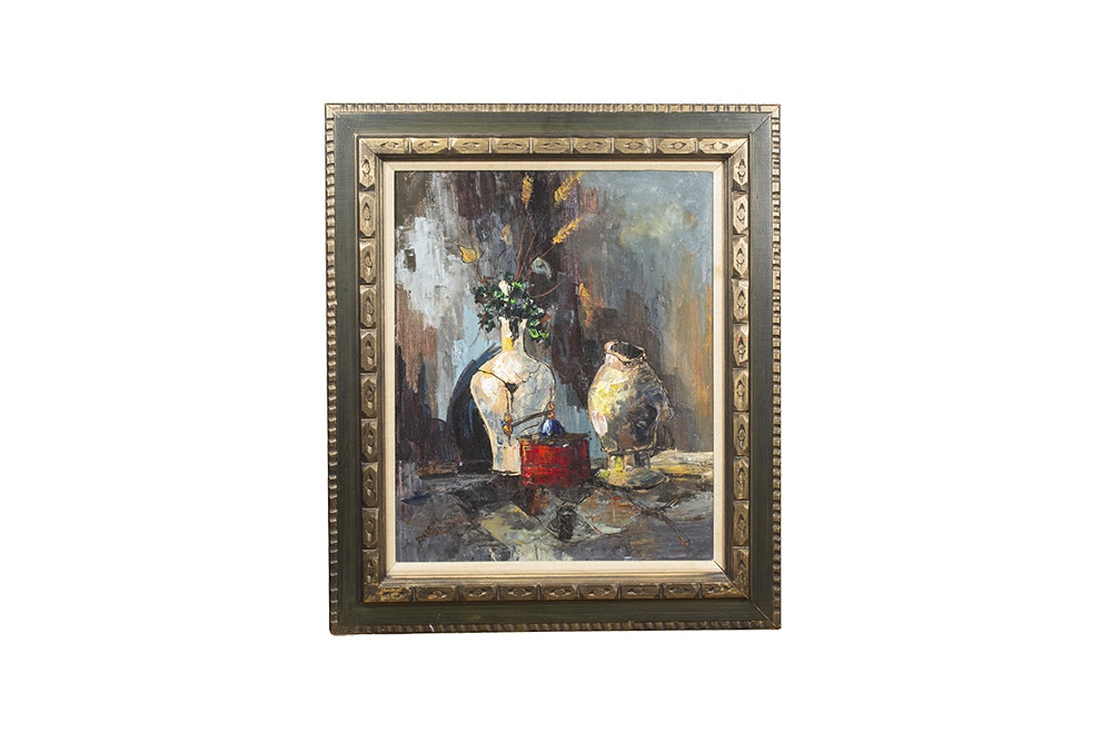 Beaumont 1972 Oil Painting of Still Life with Vases