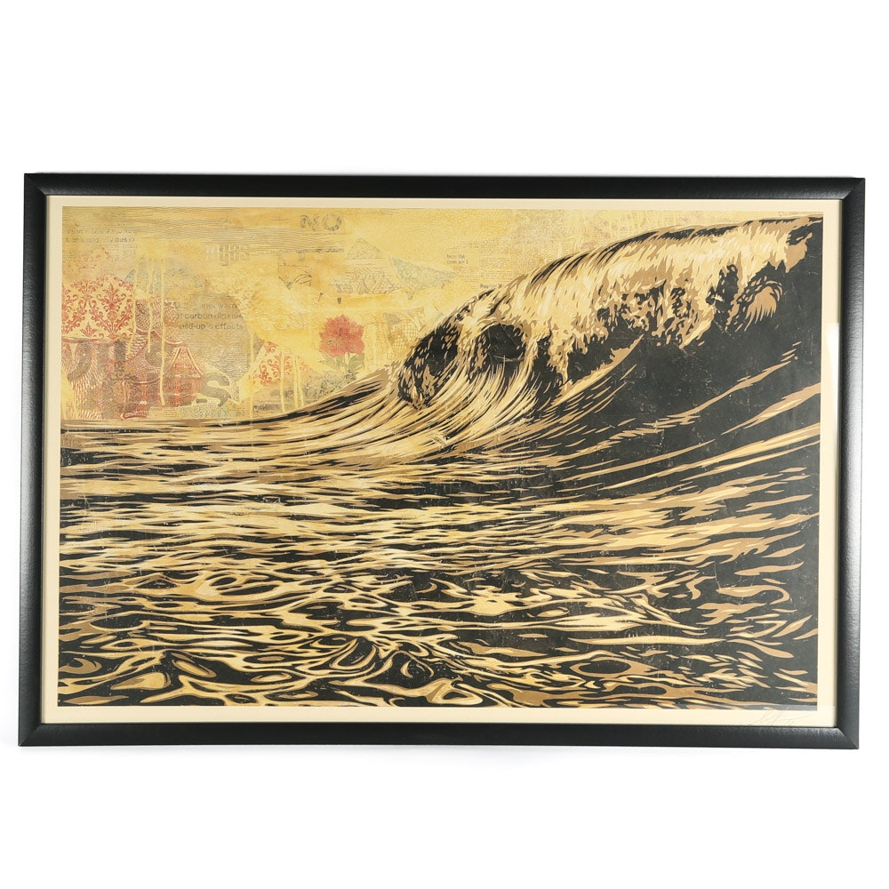 "Shepard Fairey Signed Offset Lithograph ""Dark Wave"""