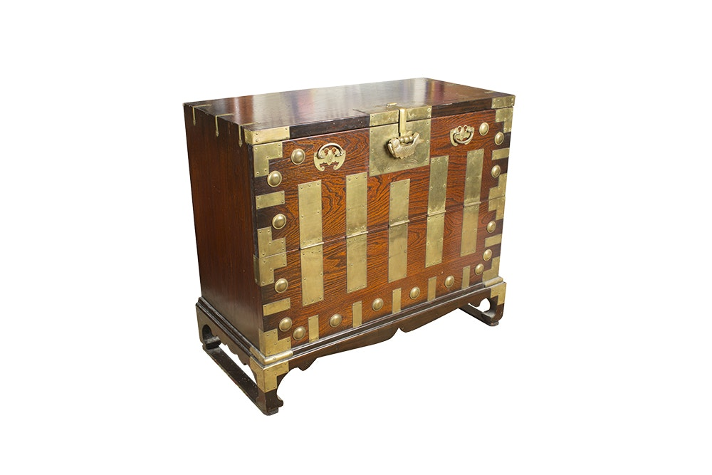 Asian Wood and Brass Chest