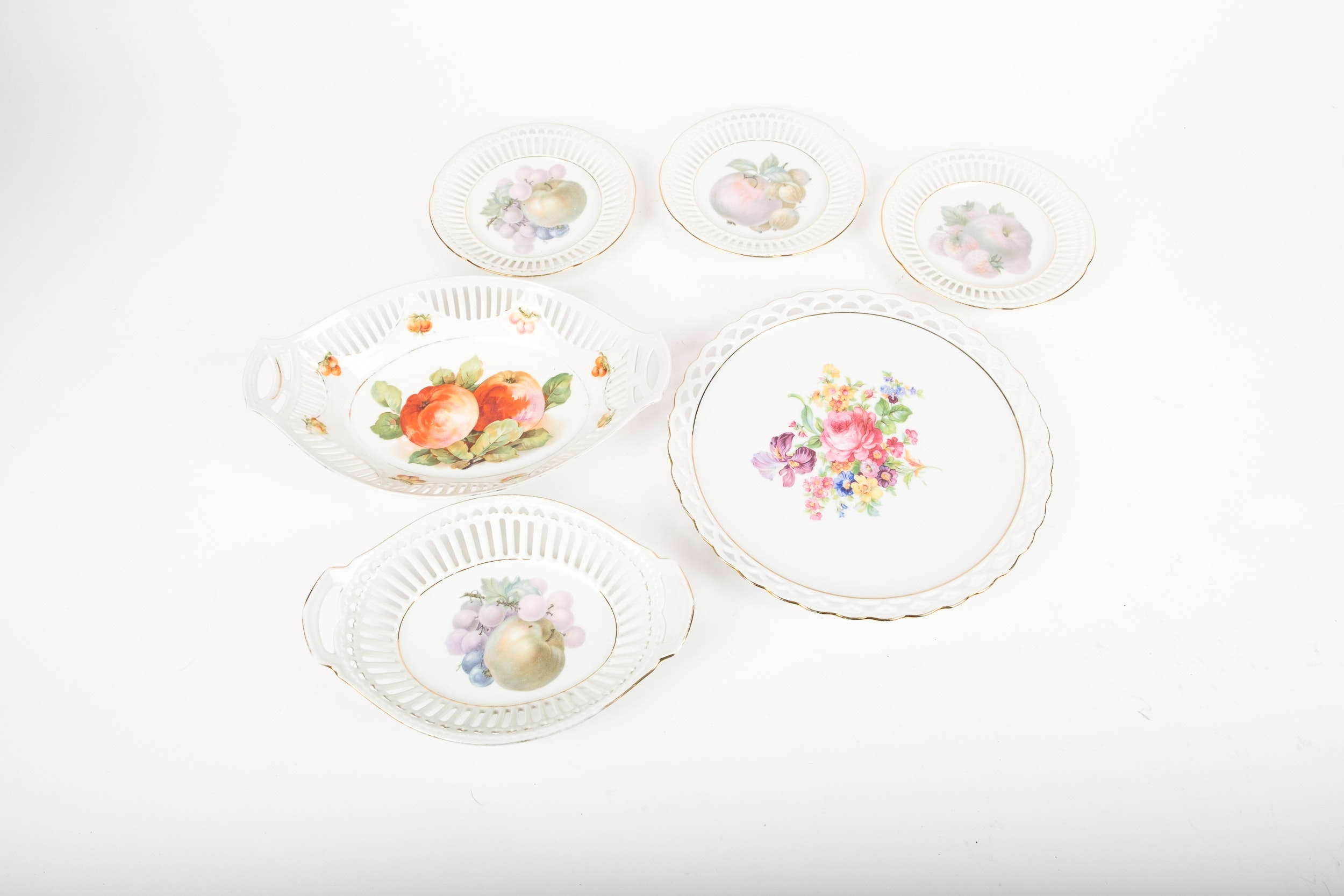 Vintage Fruit and Flower Tableware with Pierced Rims Including Winterling