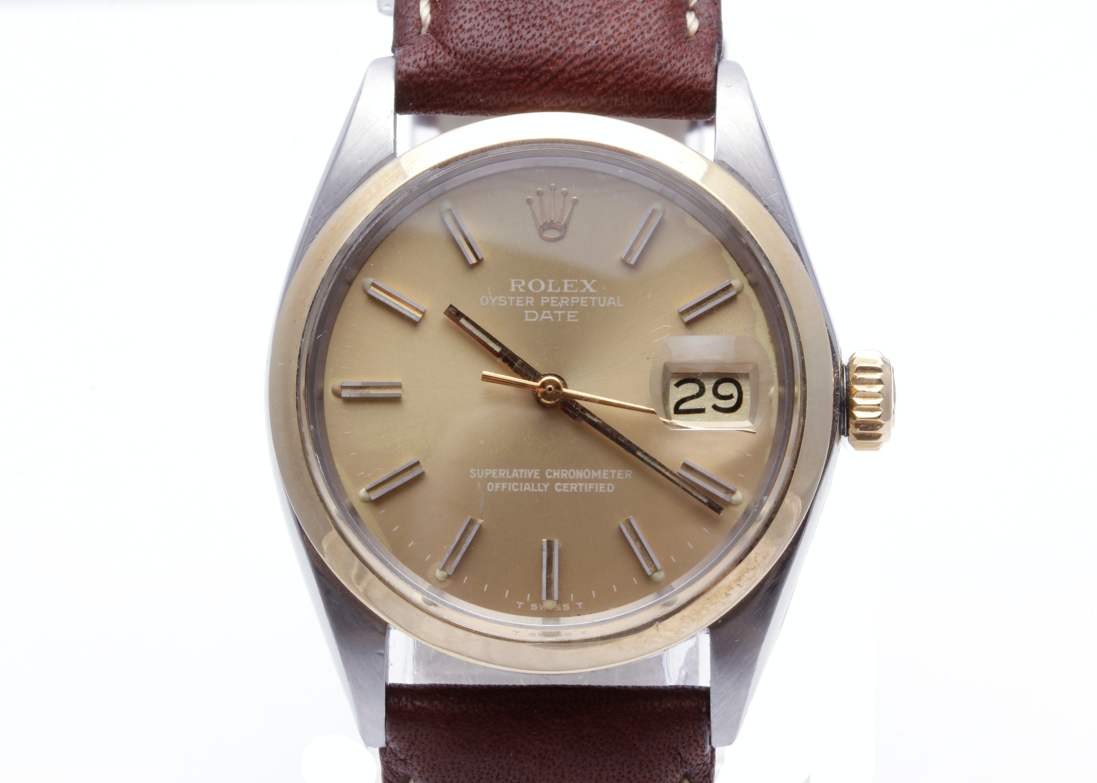 Rolex 14K Yellow Gold and Stainless Steel Date 34mm Oyster Perpetual Wristwatch