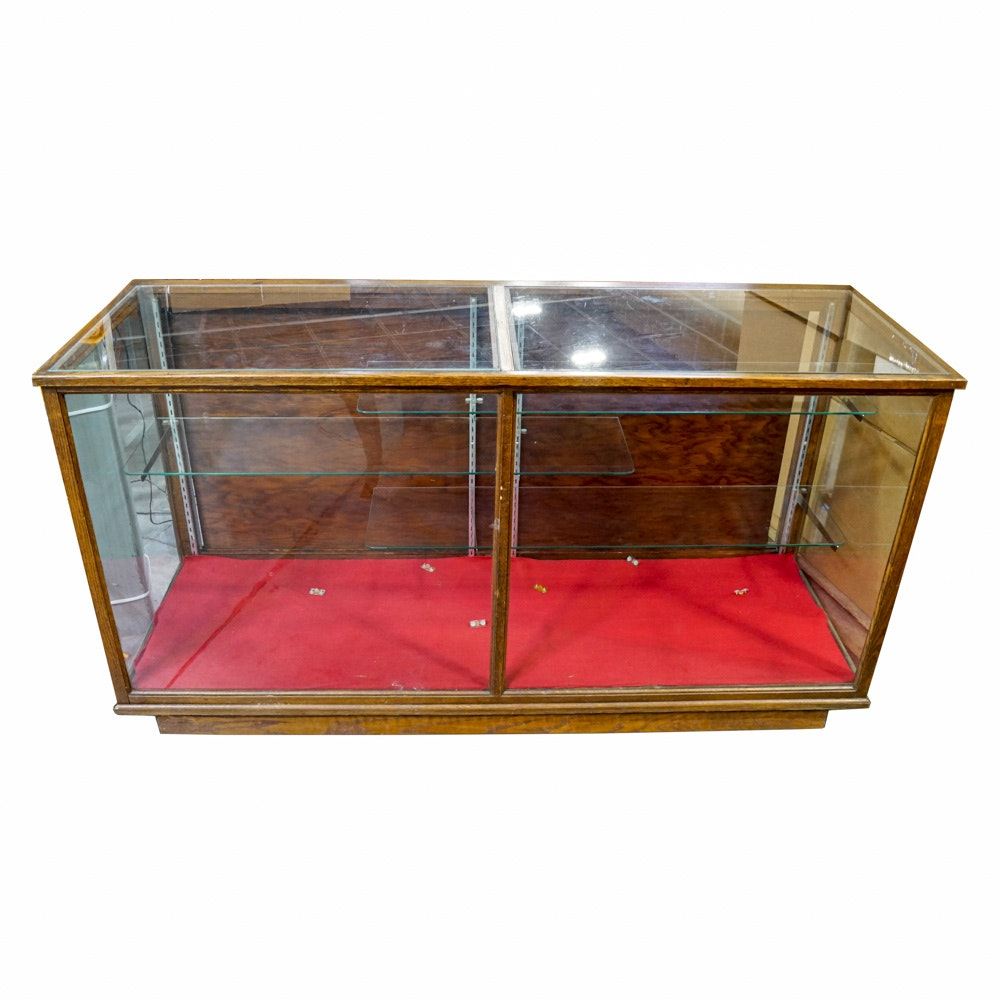 Vintage Wood and Glass Store Display Case