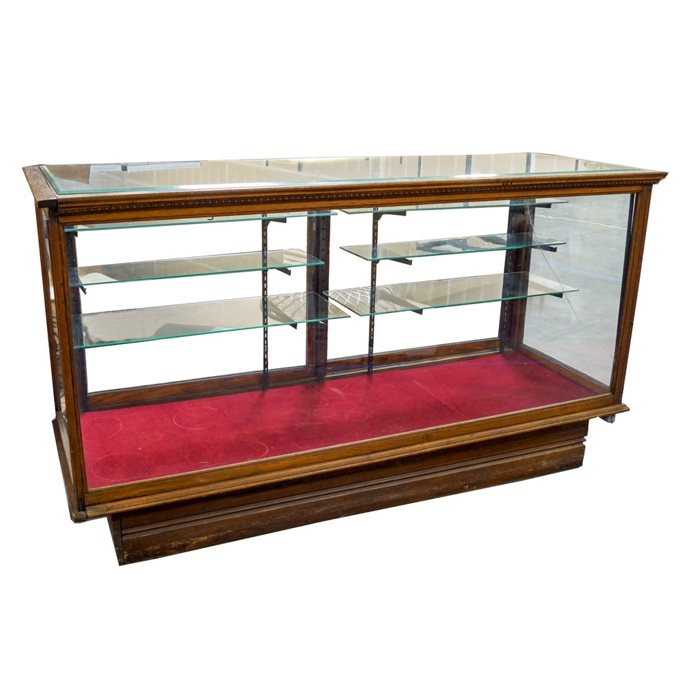 Vintage Oak and Glass Store Display Case