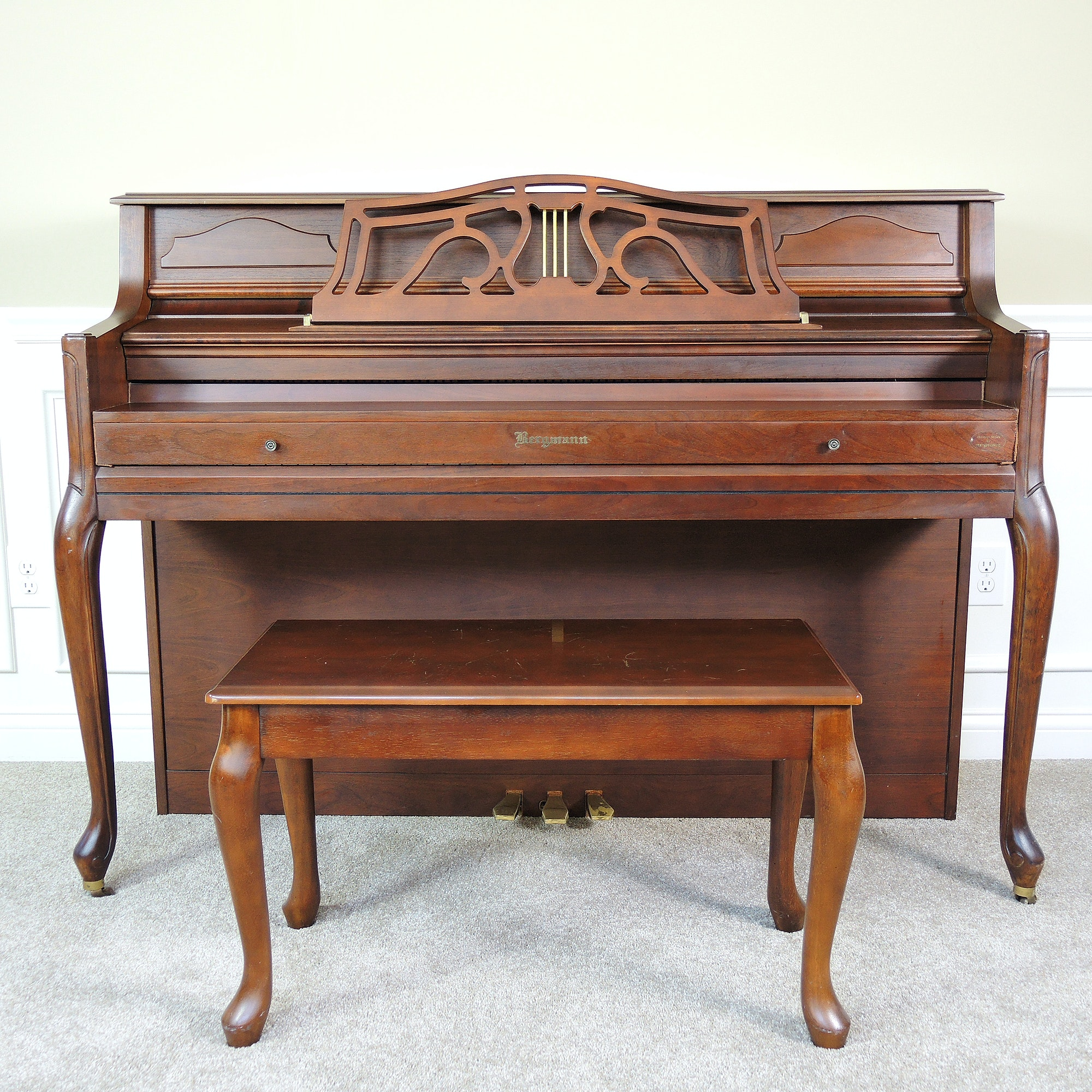 Bergmann Console Piano with Bench and Sheet Music