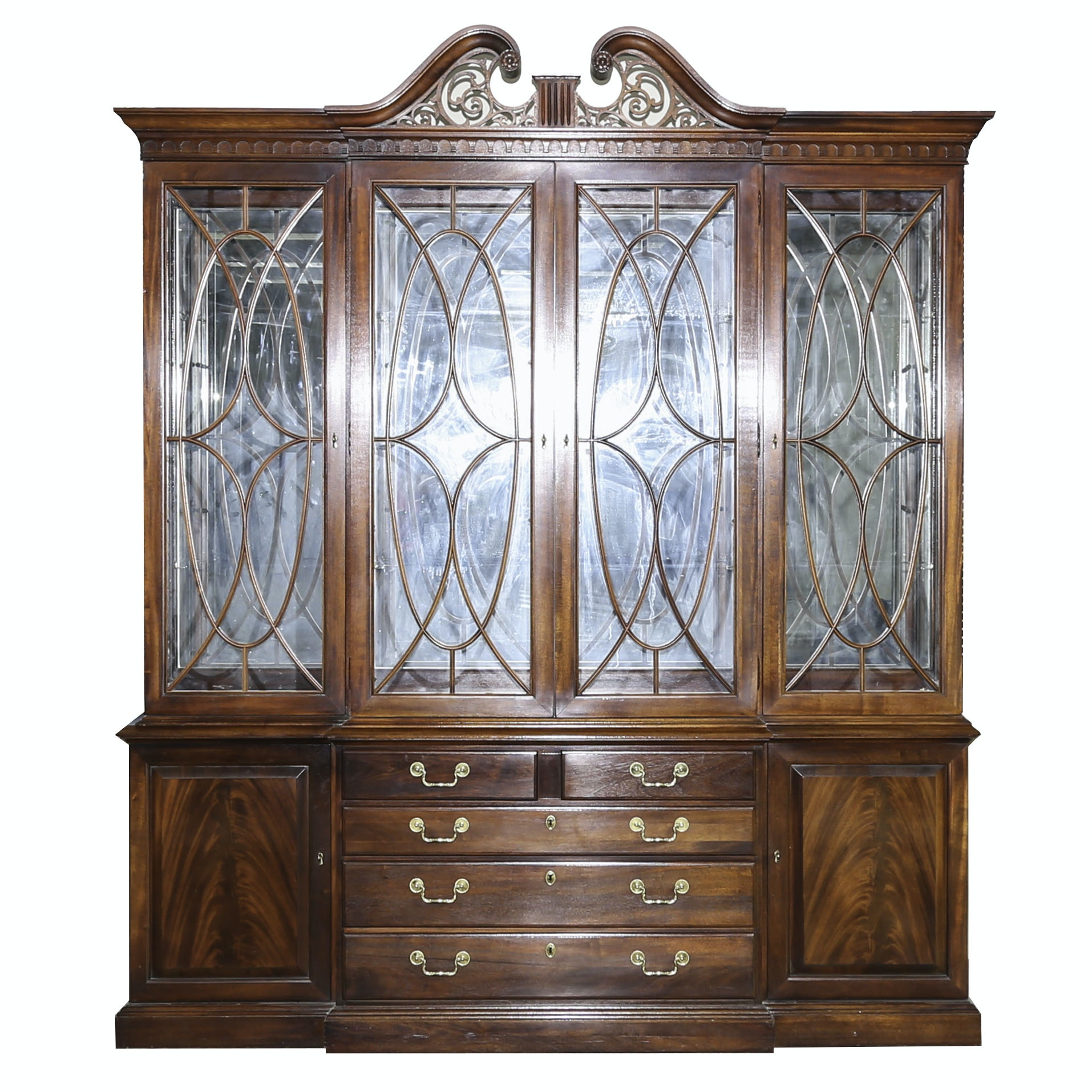 Chippendale Style Breakfront China Cabinet by Thomasville Furniture