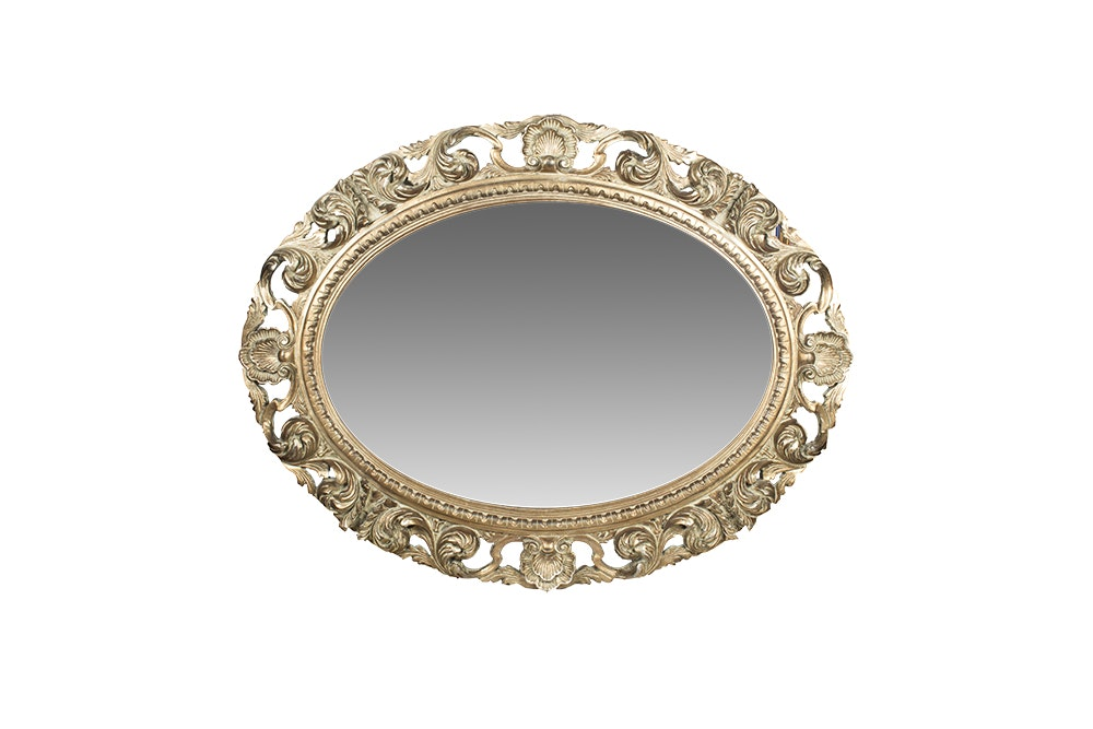 Ornate Italianate Gold Toned Wall Mirror