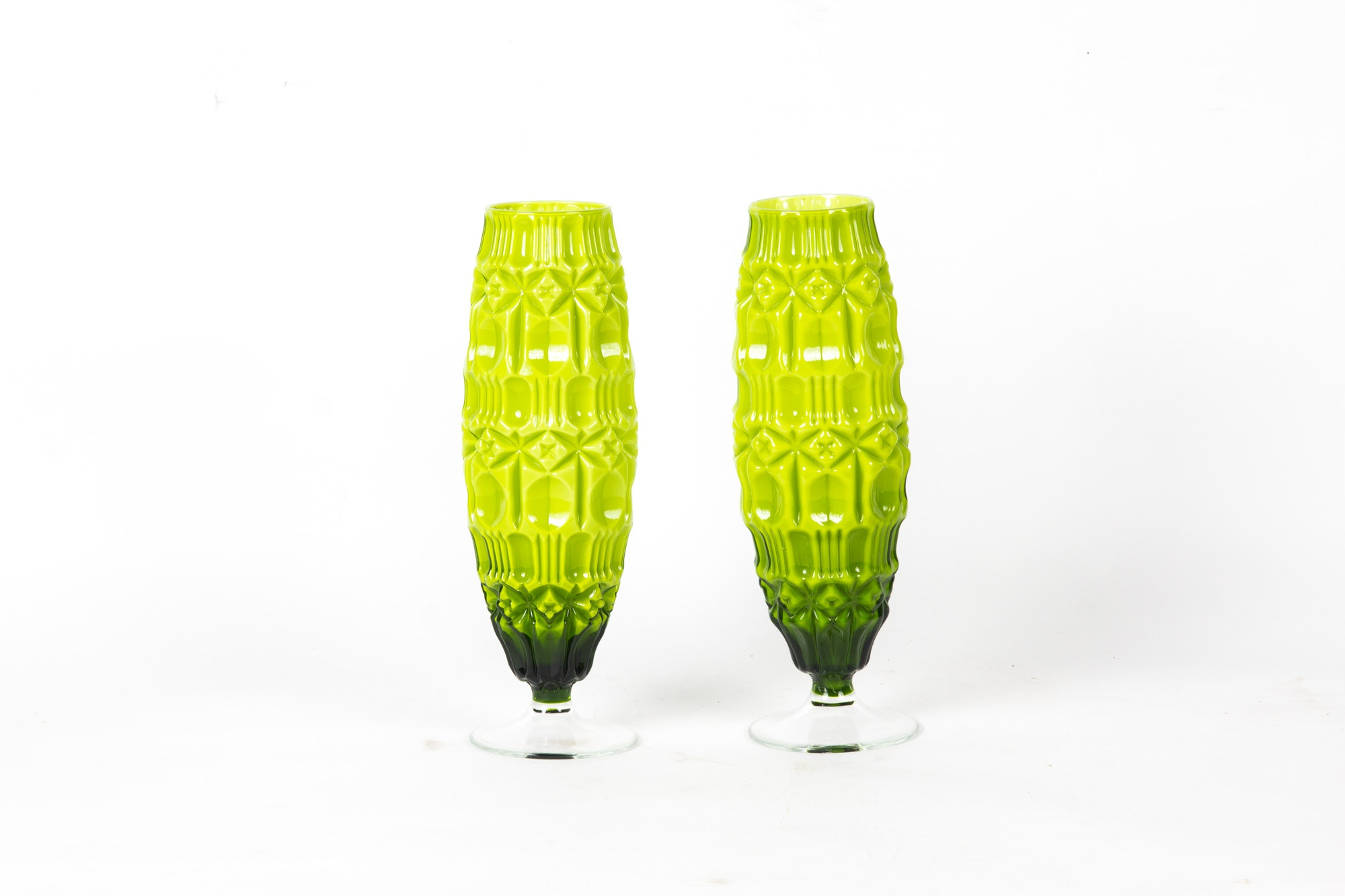 Two Vintage Chartreuse Glass Vases