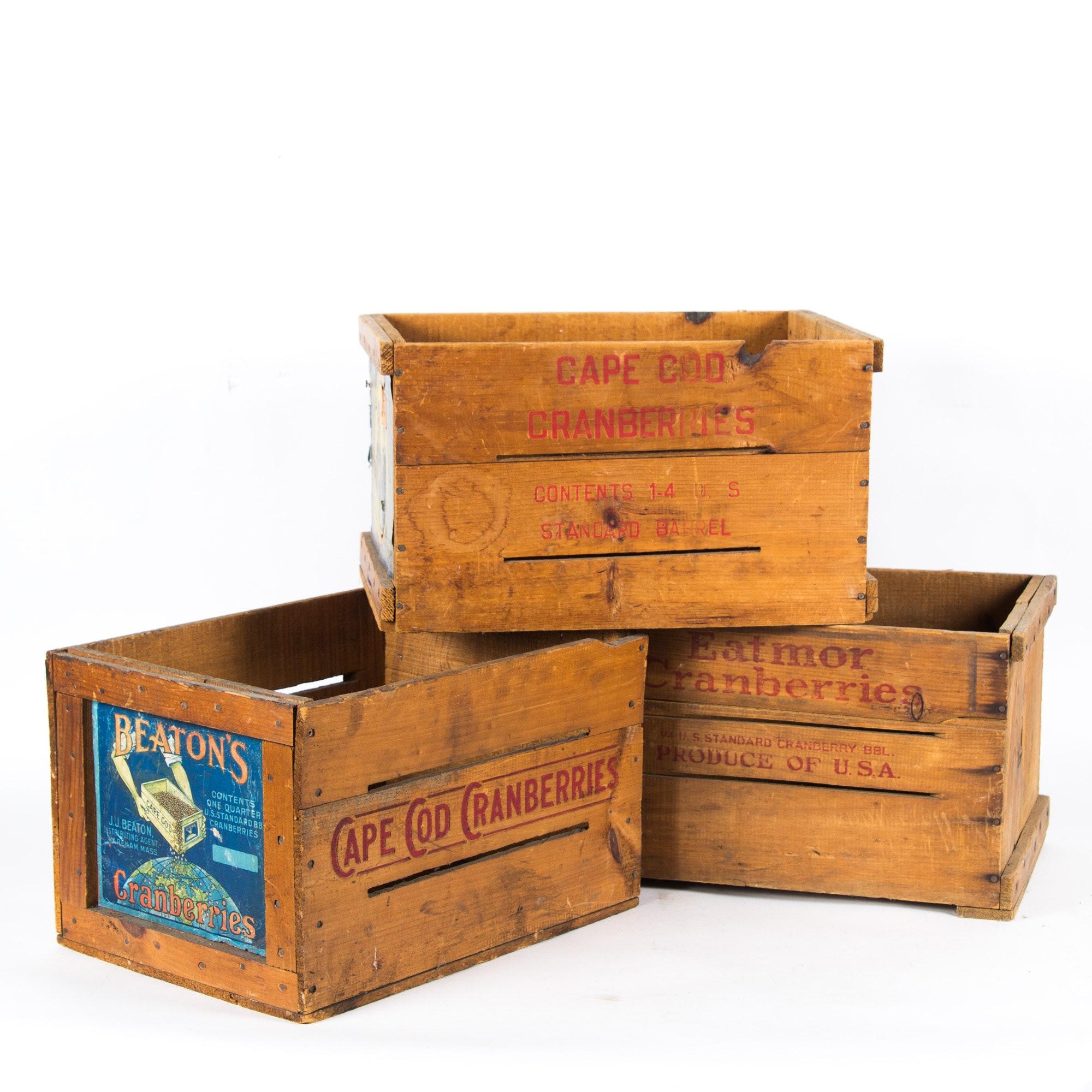 Three Vintage Wooden Crates