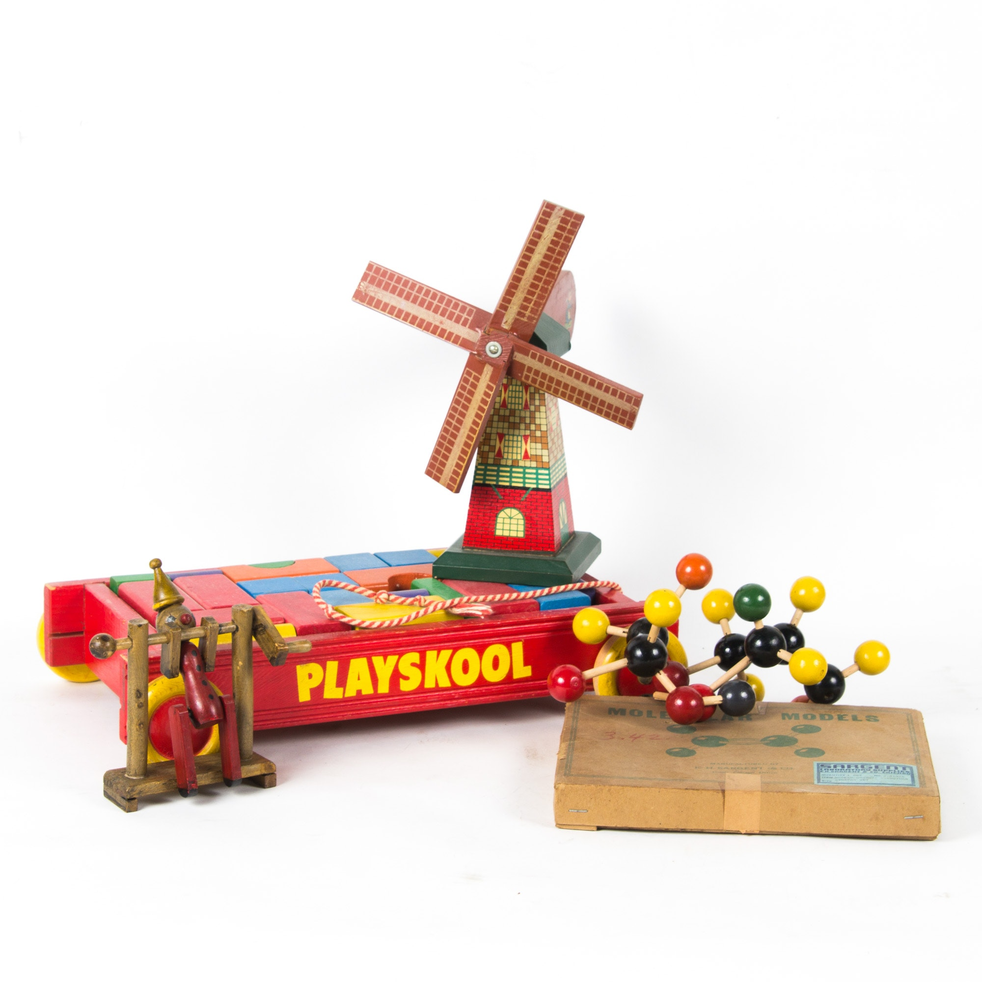 Grouping of Vintage Wooden Toys