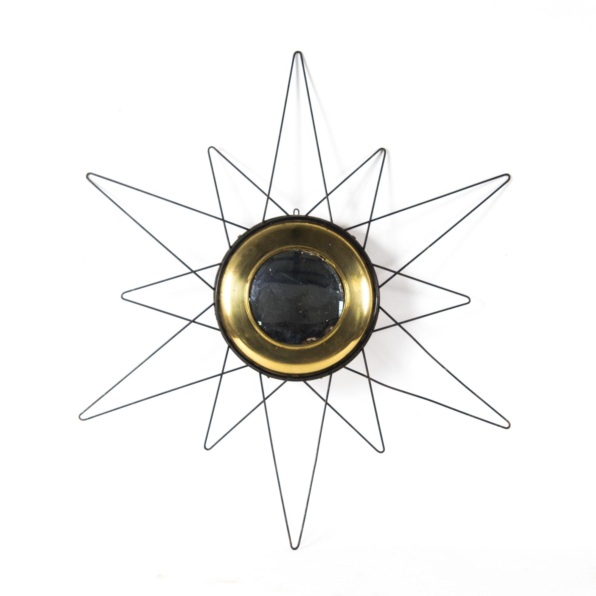 Mid Century Modern Convex Wire Sunburst Mirror