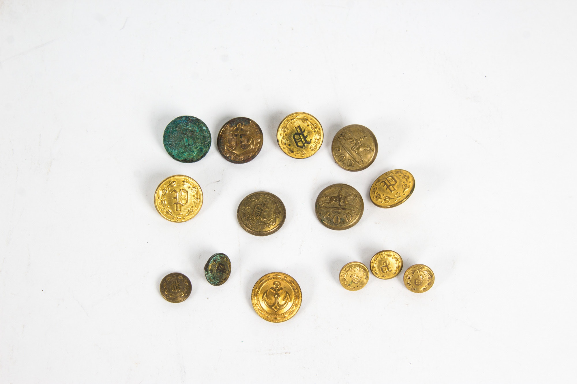 Militia Themed Gold Toned Buttons