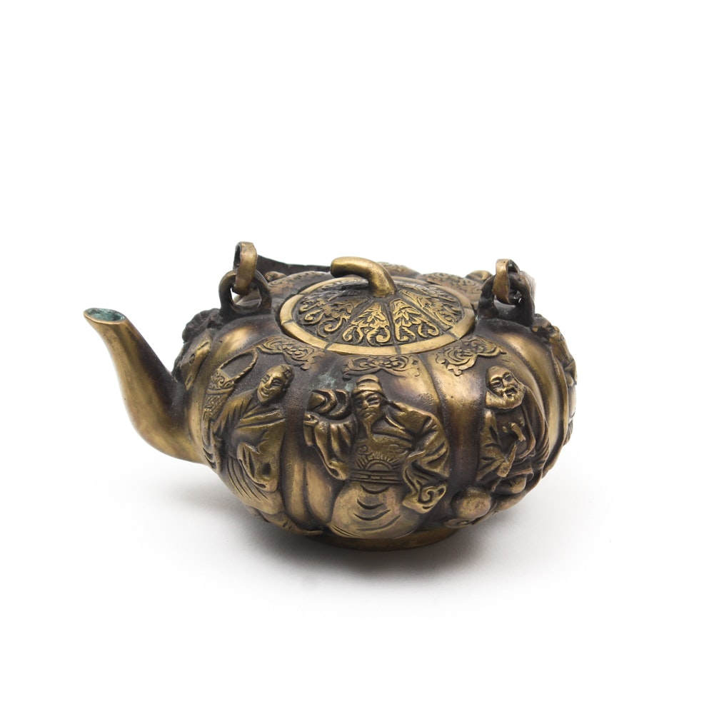 Chinese Brass Eight Immortals Repousse Teapot