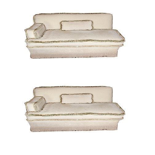 Upholstered Sofa on Casters With Pillows