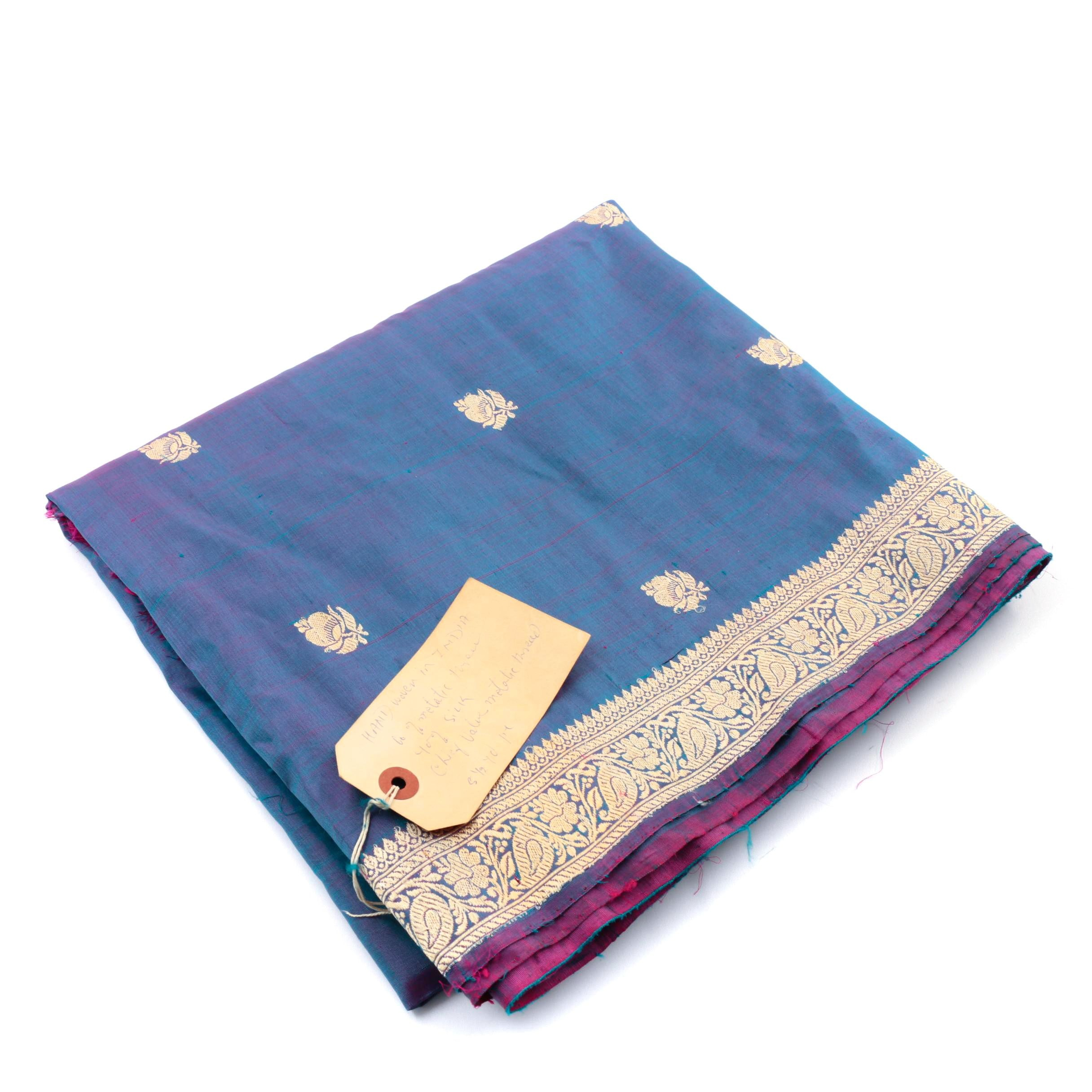 Vintage Iridescent Purple, Blue and Gold Hand Woven Silk Sari, Made in India