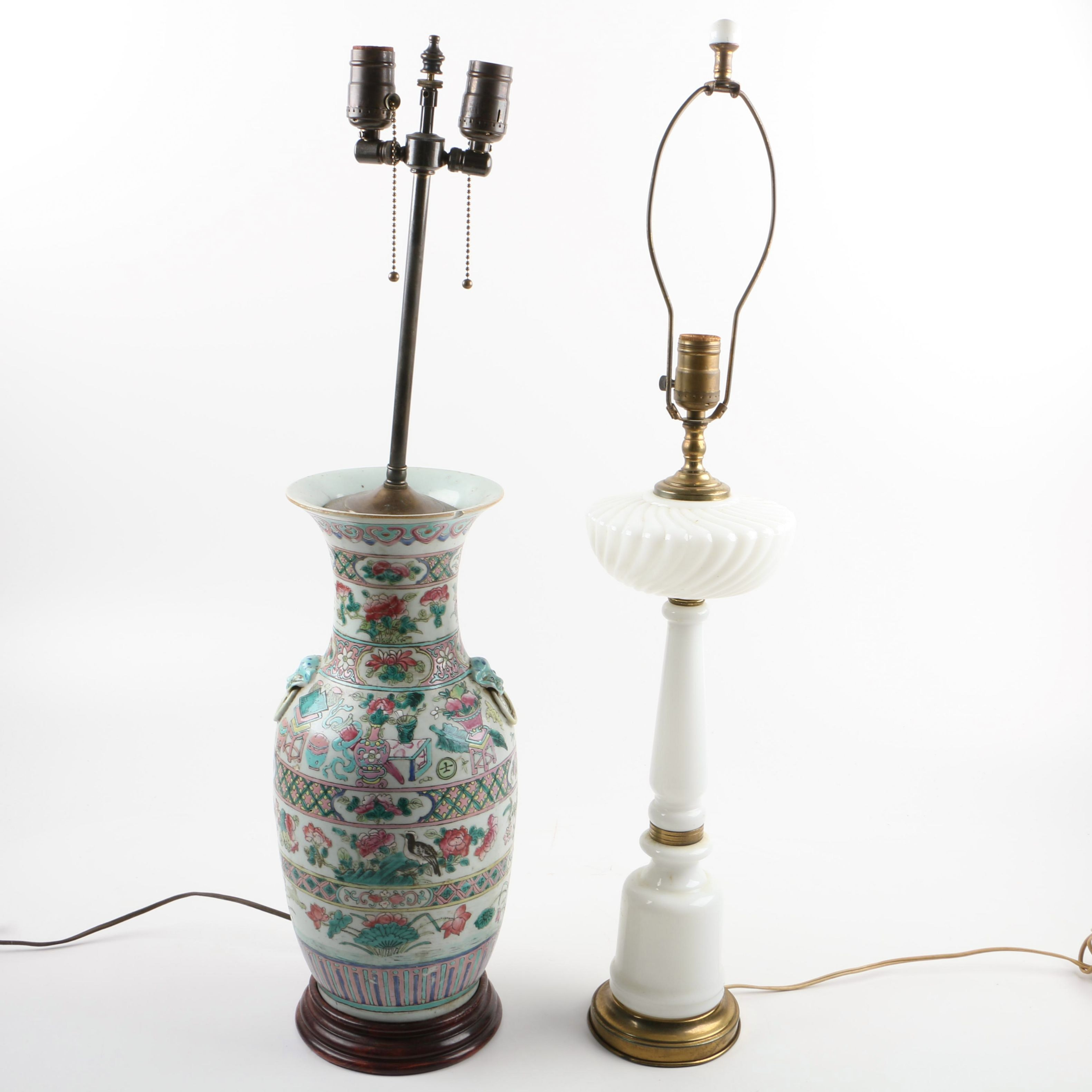 Chinese Porcelain Urn Lamp and Milk Glass Lamp