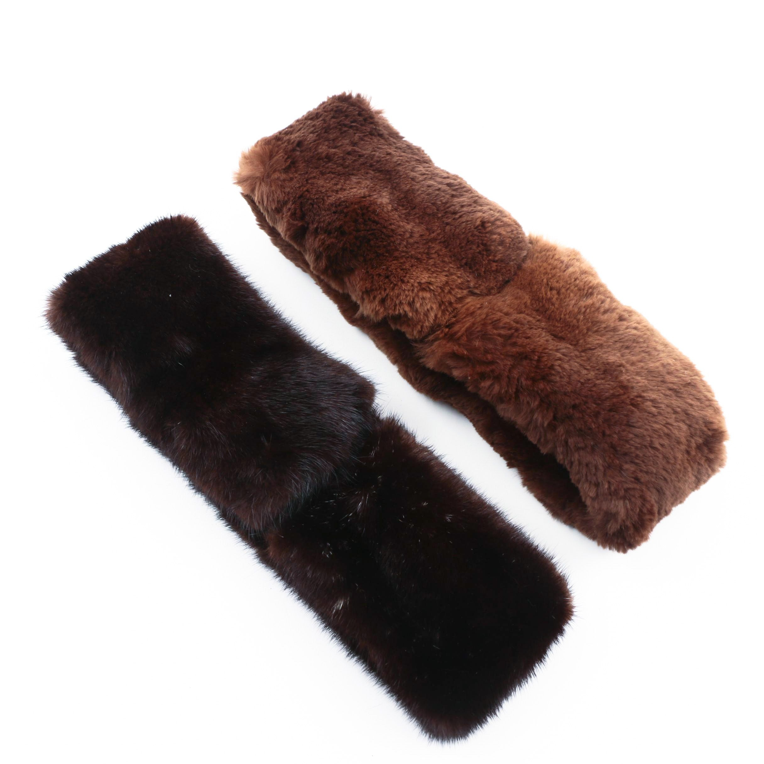 Two Fur Collars with Velcro Fasteners