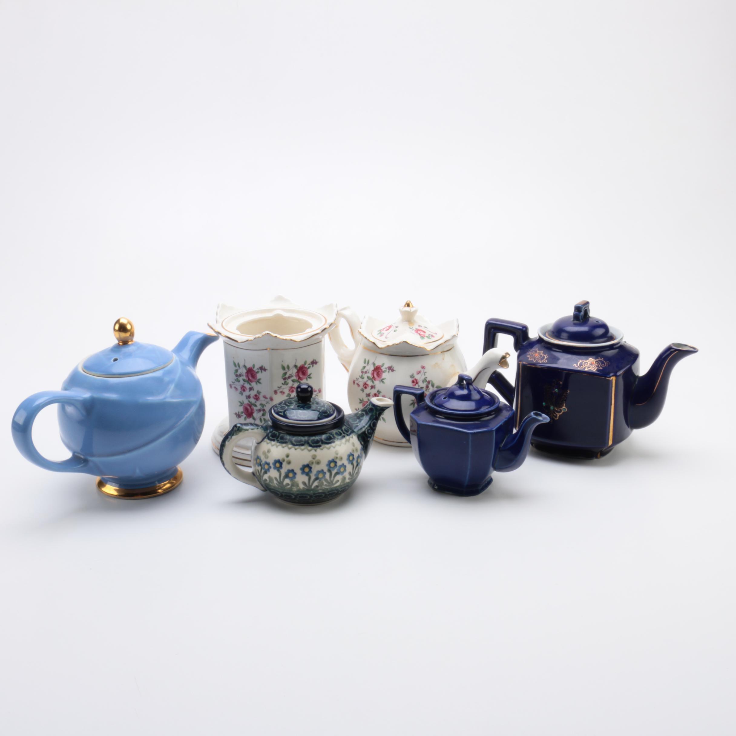 Ceramic Tea Pots Including Hall Moderne