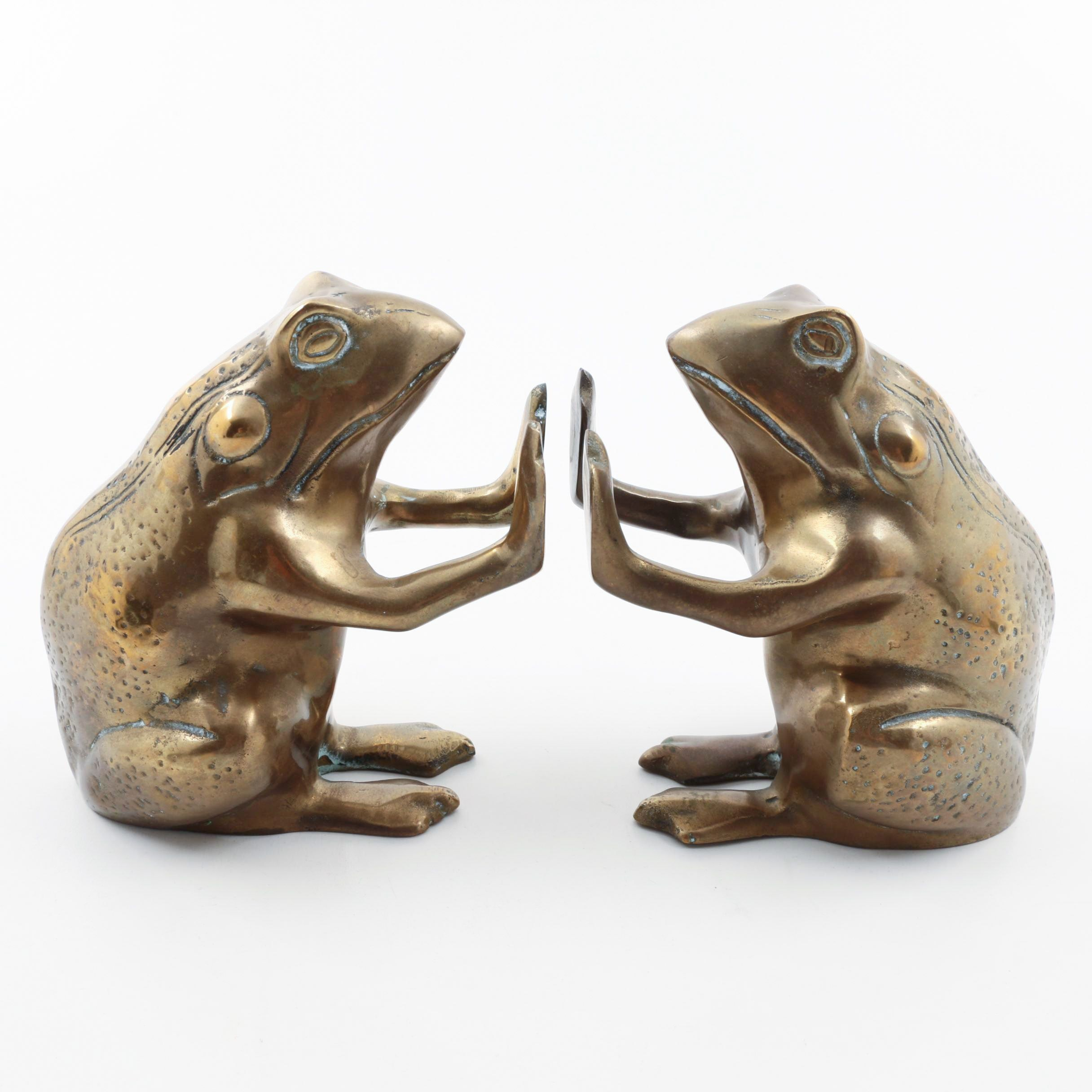 Pair of Brass Frog Bookends