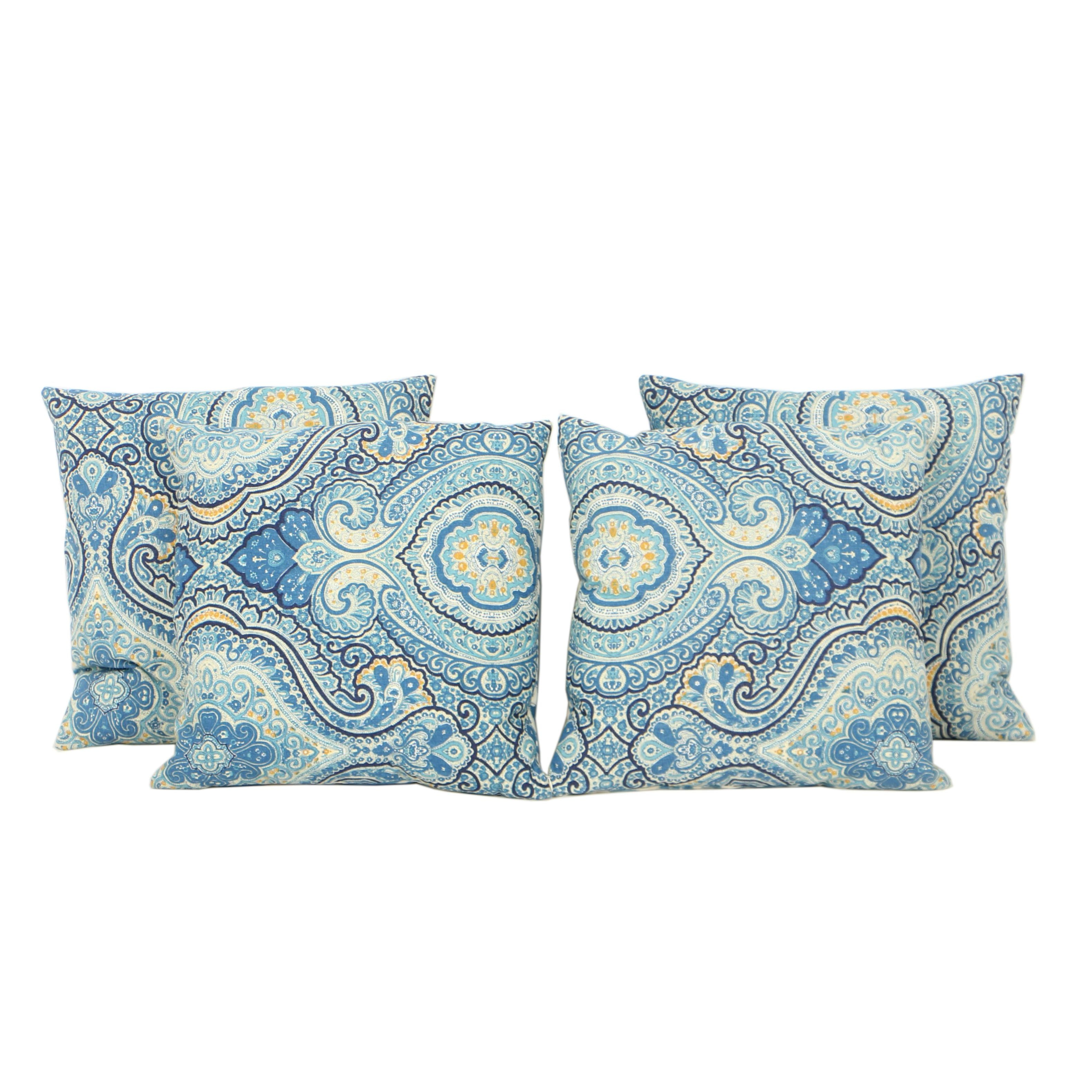 Four Decorative Blue and White Ikat Pattern Feather Filled Pillows