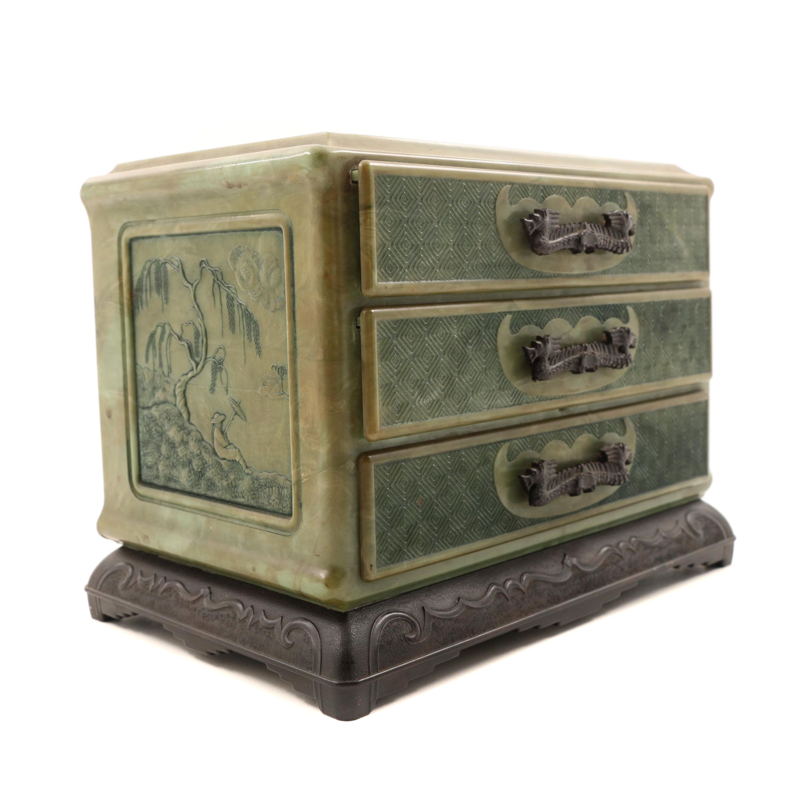 Faux Jade Jewelry Box with Dragon Handles EBTH