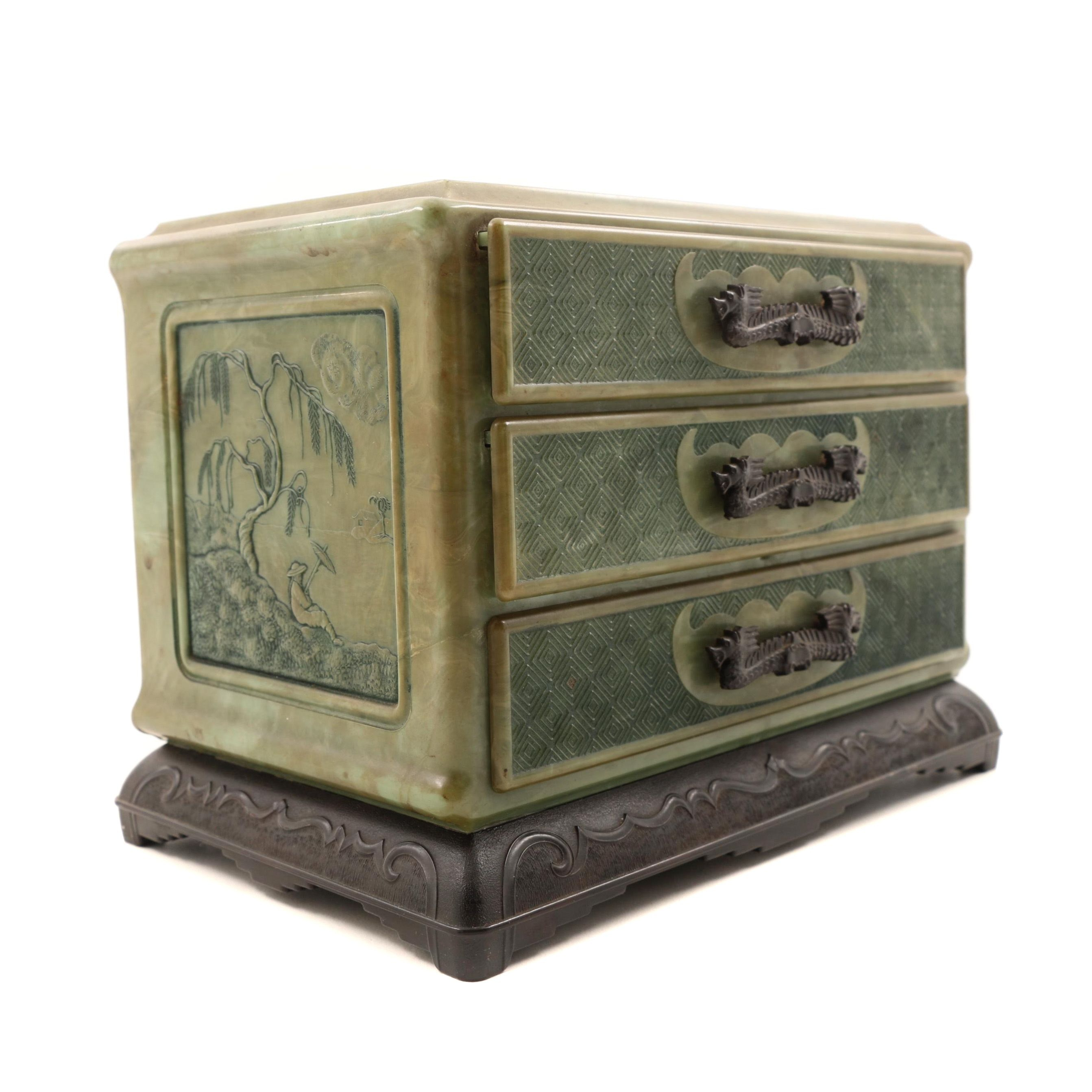 Faux Jade Jewelry Box with Dragon Handles