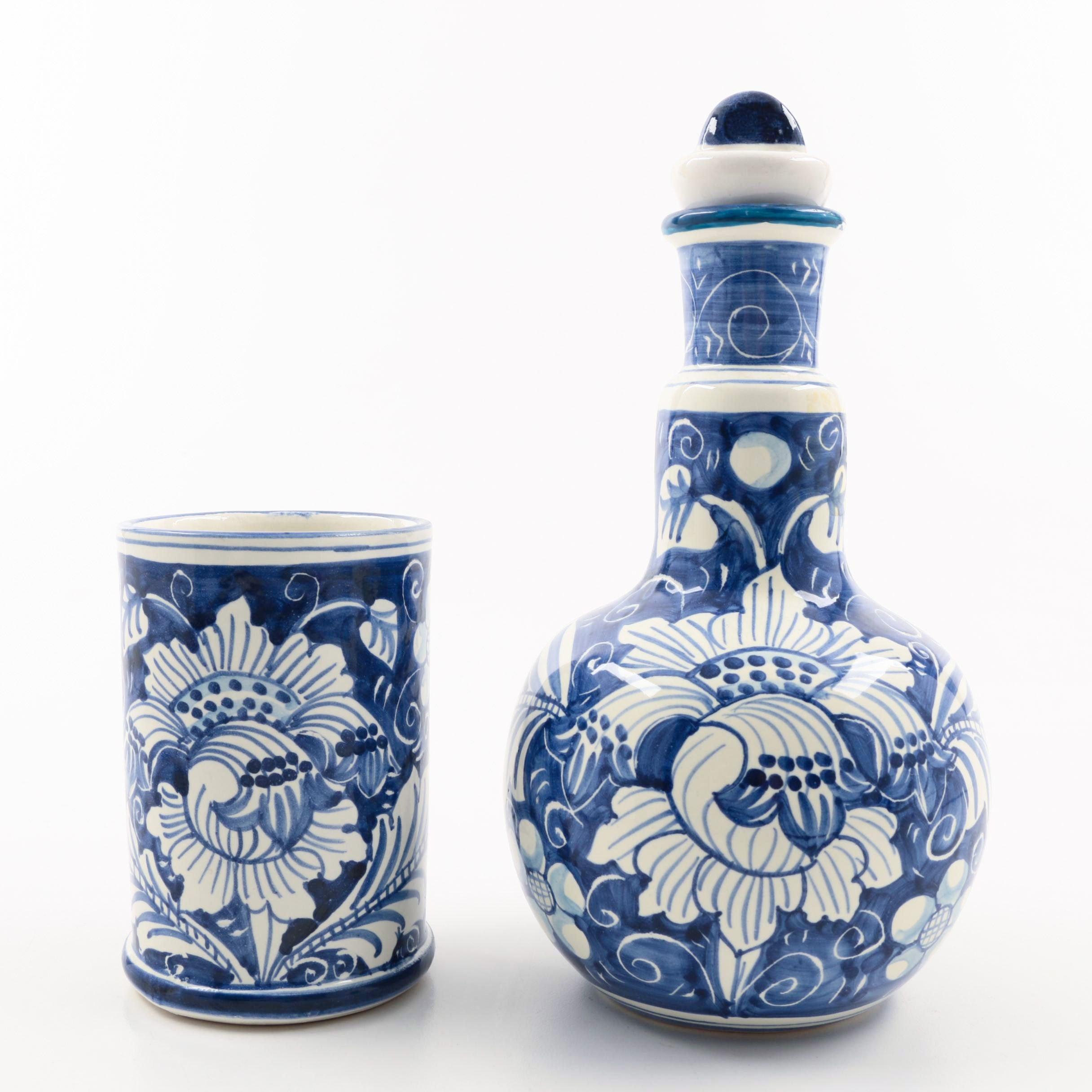 Decorative Blue and White Italian Ceramic Pottery Pieces