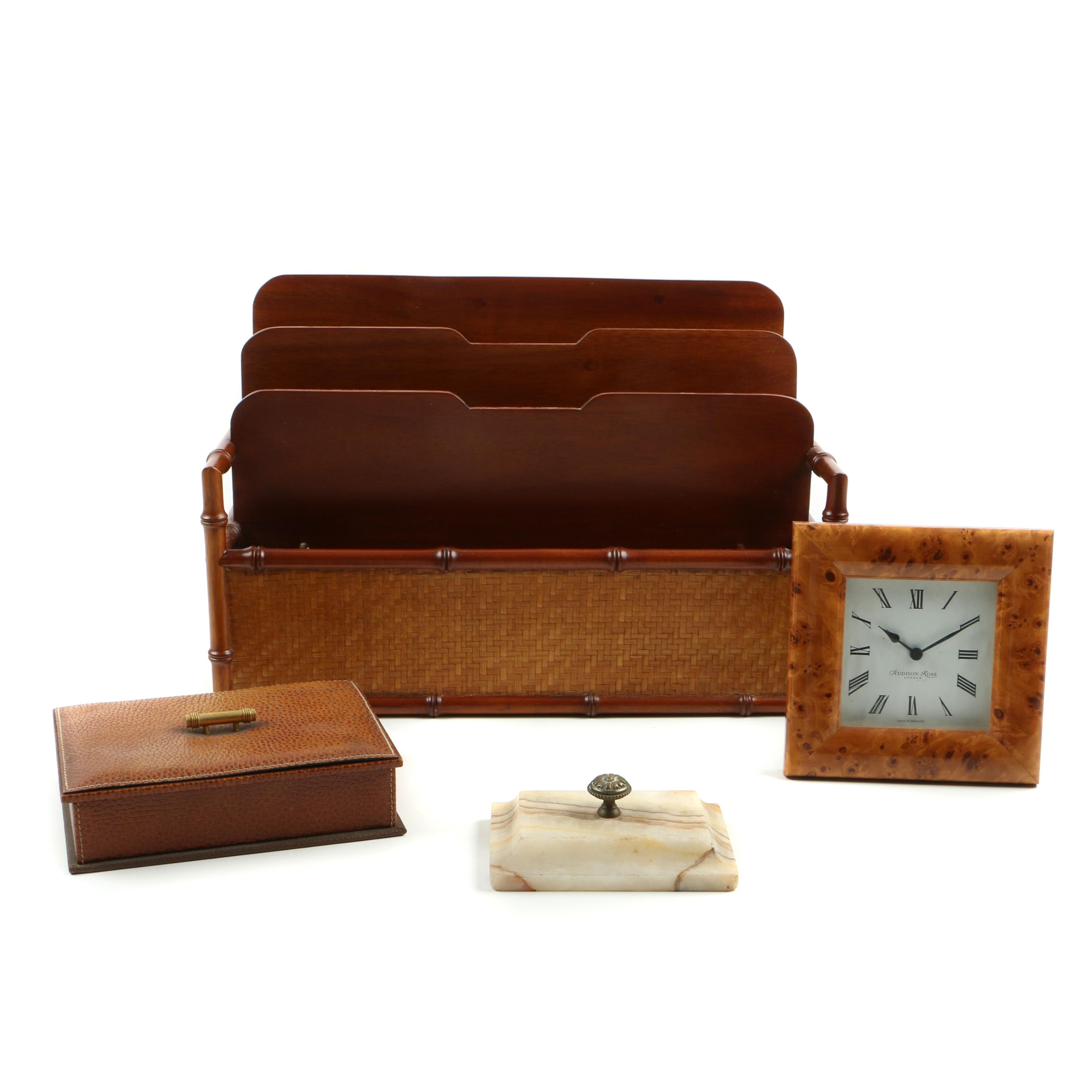 Christian Dior Leather Box and Other Desk Accessories