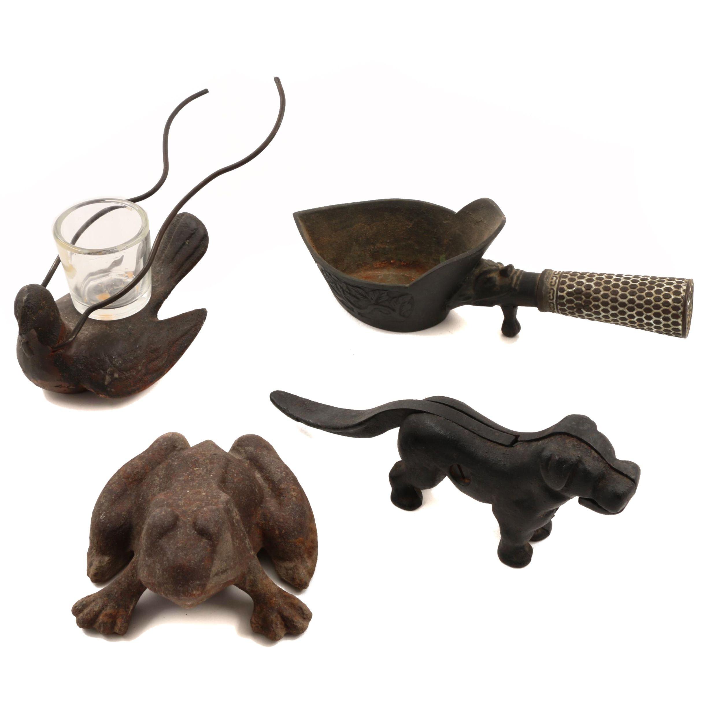 Cast Iron Dog Nutcracker,  Dove Votive Holder, Frog Doorstop and Silk Iron