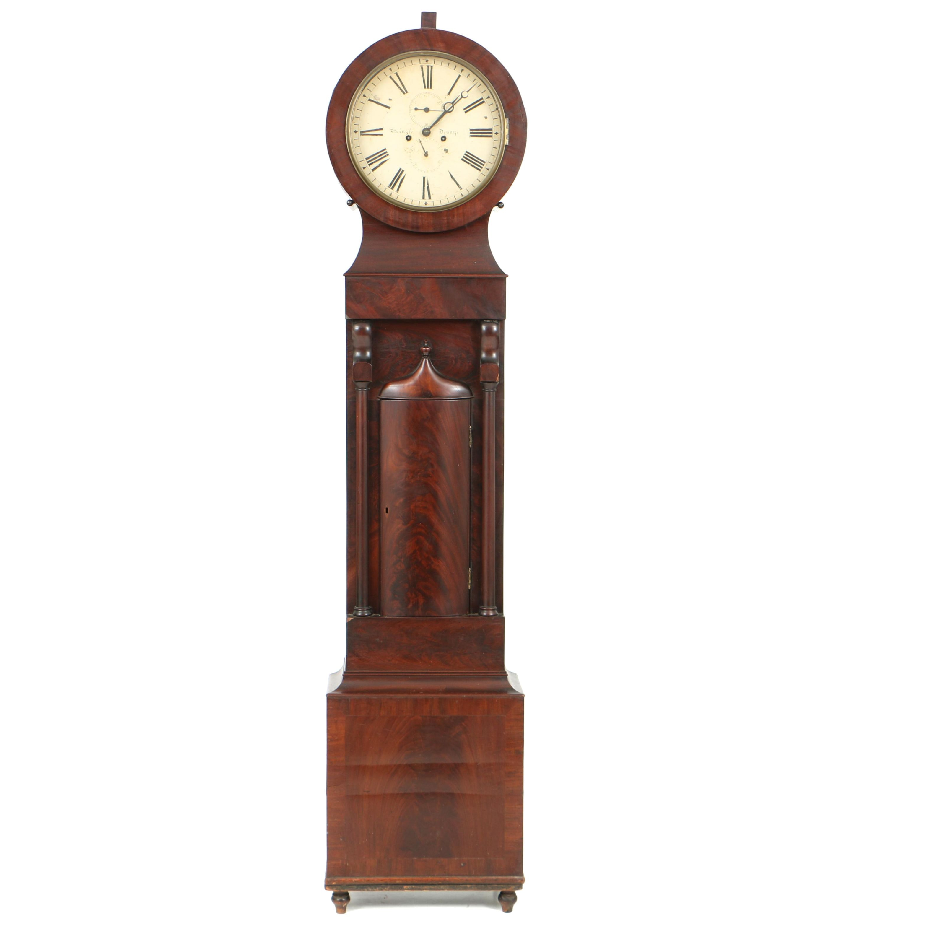 Antique Scottish Regency Mahogany Tall Case Clock by Pringle of Denny