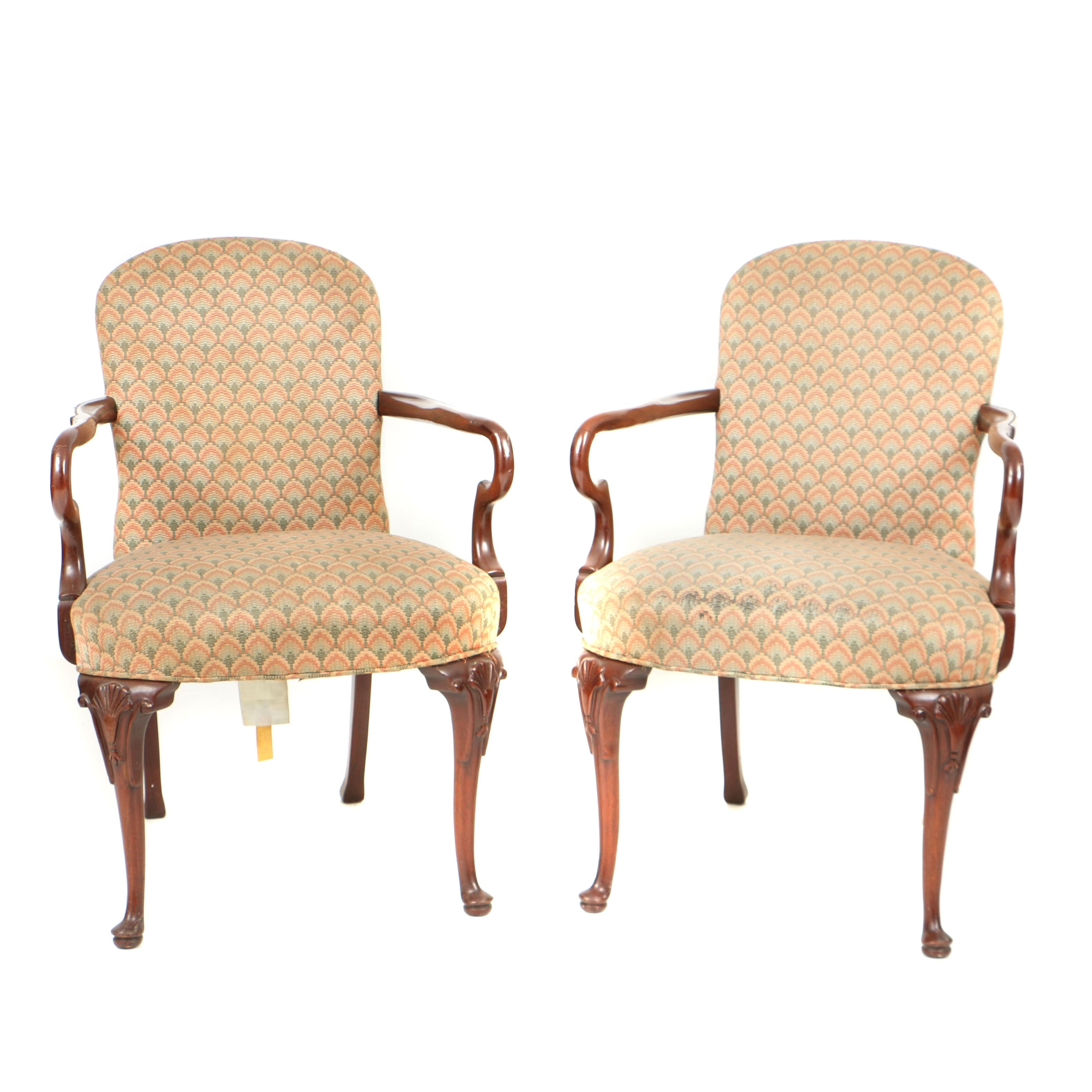 Hickory Chair Furniture Co. Queen Anne Style Open Armchairs in Mahogany