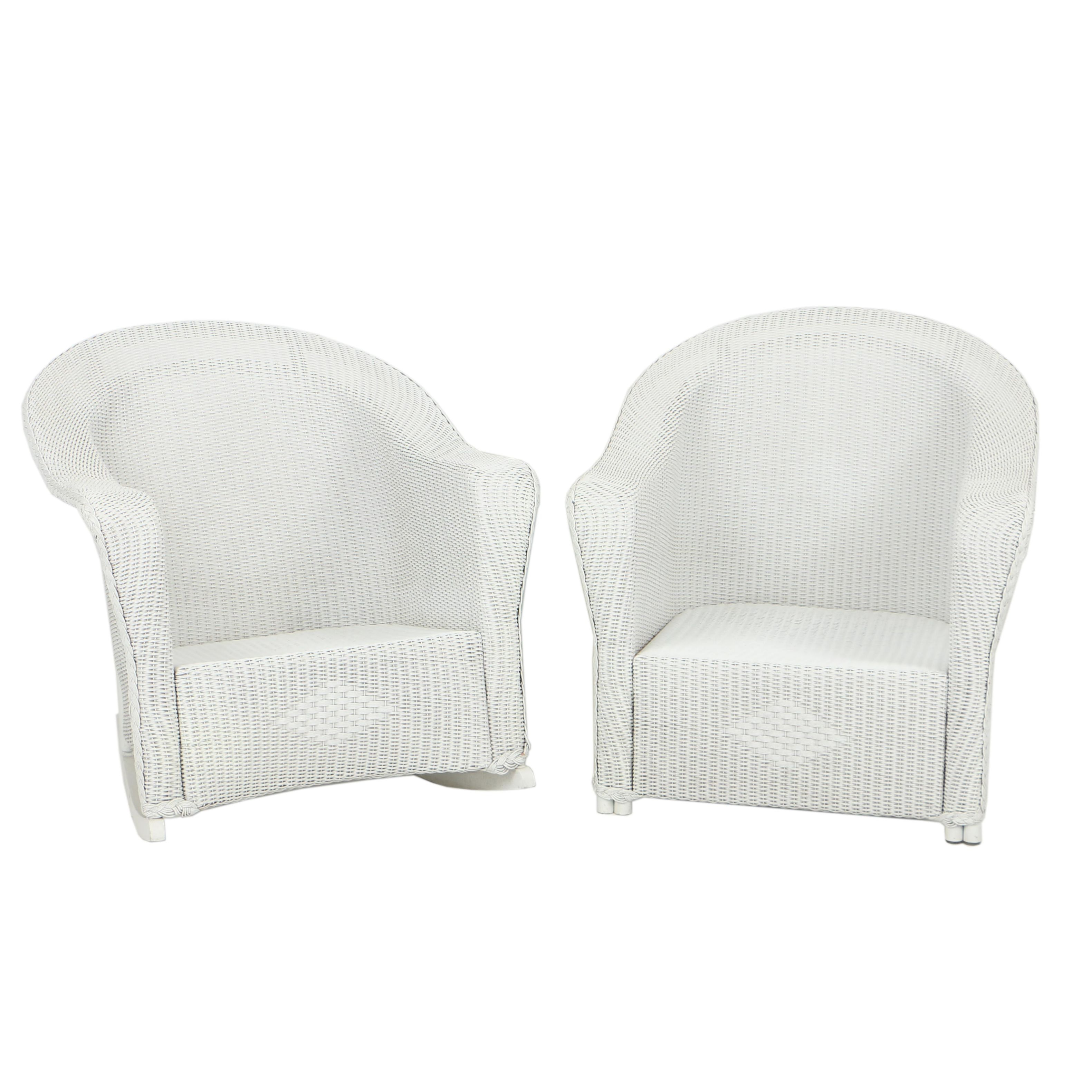 White Wicker Patio Armchair and Rocker