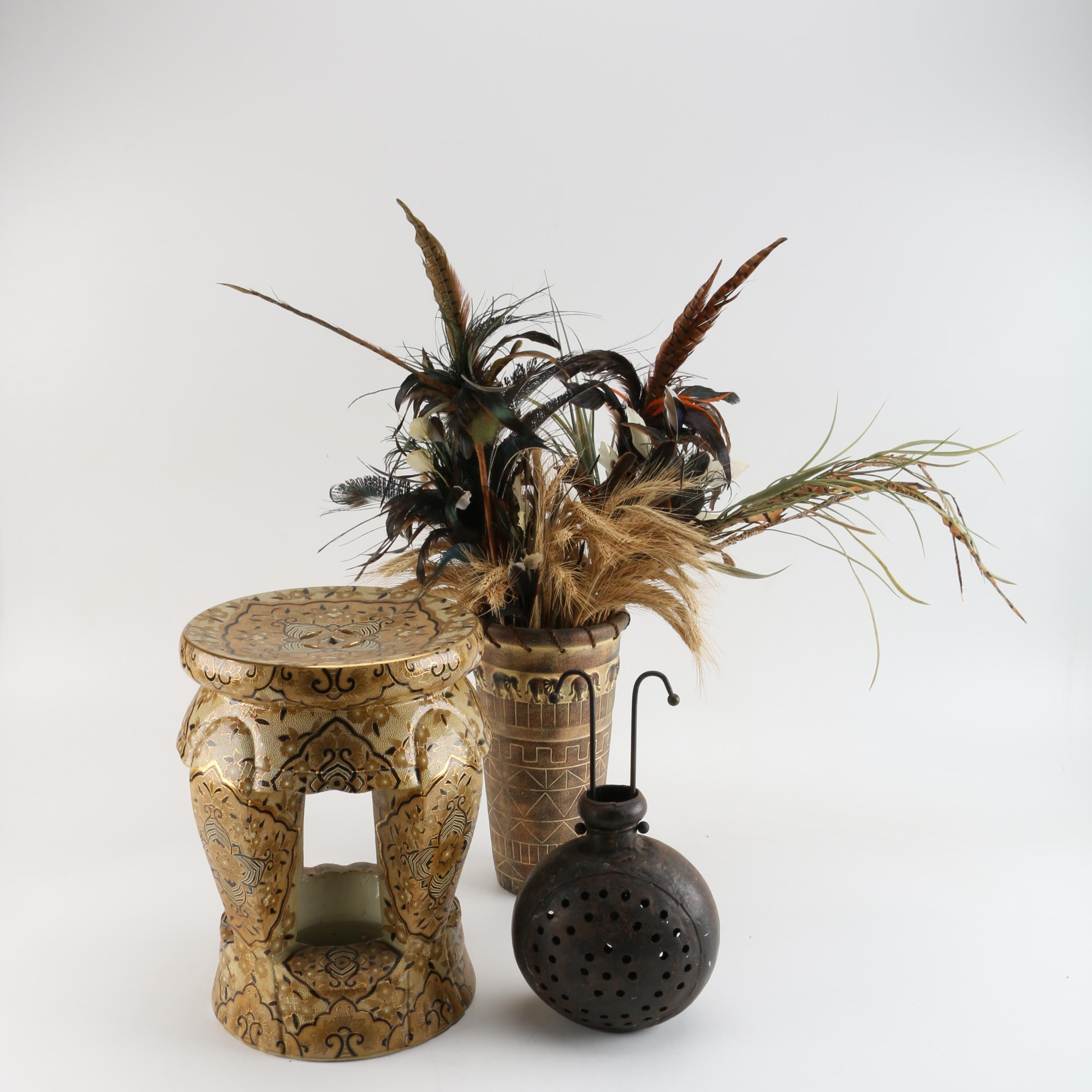 Safari and Asian Inspired Plant Stand and Planters