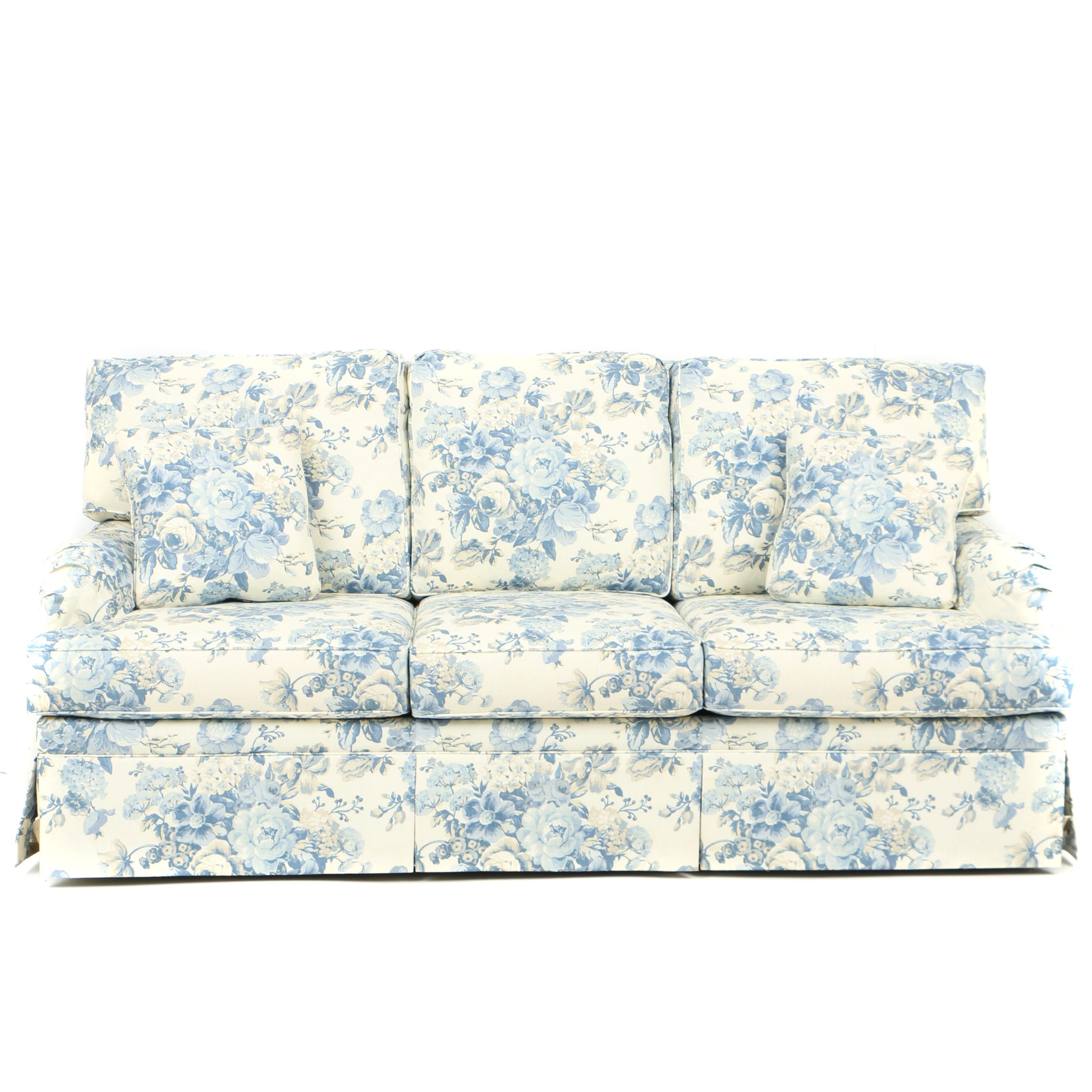 Ethan Allen Three Seat Sofa In Custom, Blue Floral Upholstery ...