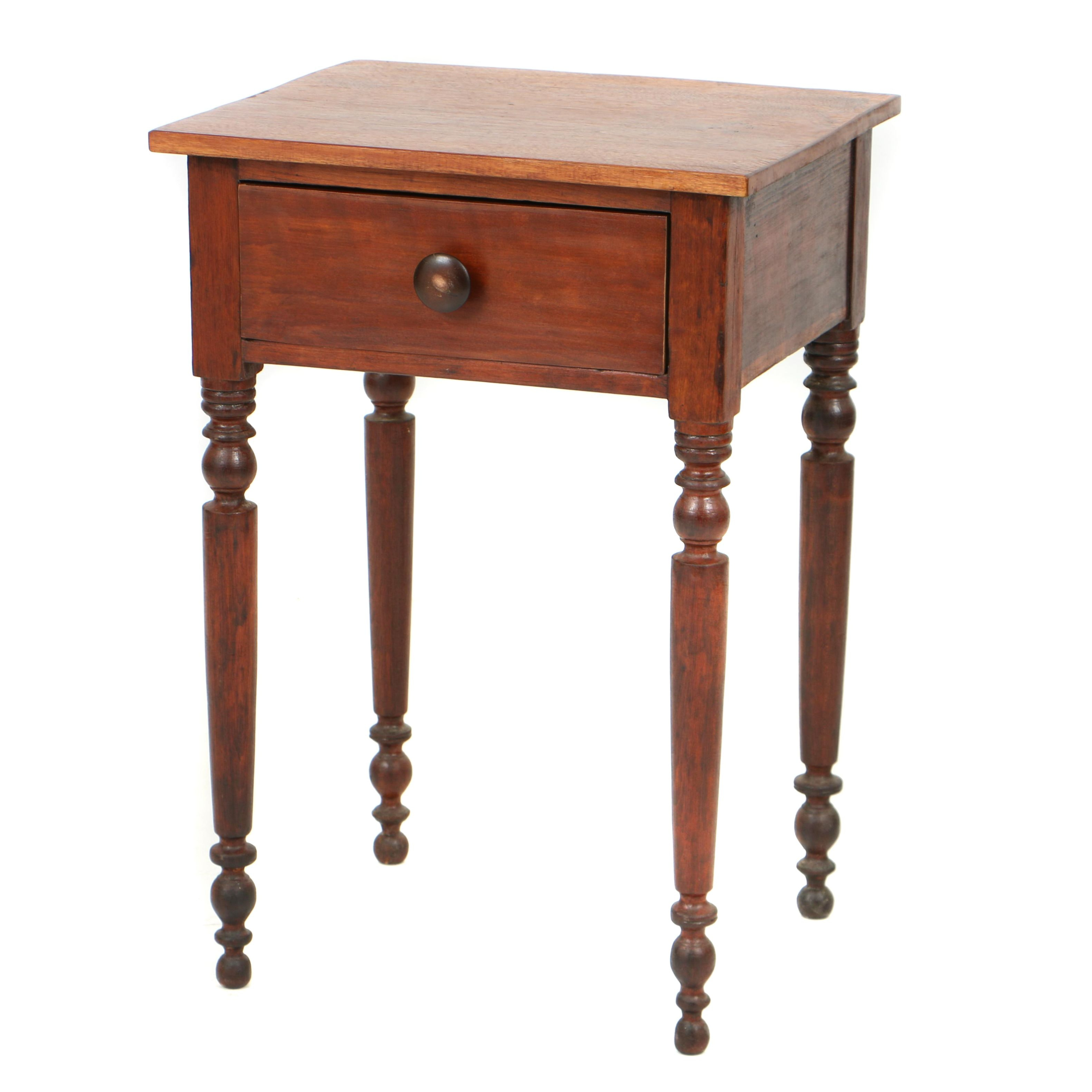 Antique Country Sheraton One-Drawer Stand, Circa 1825-1835