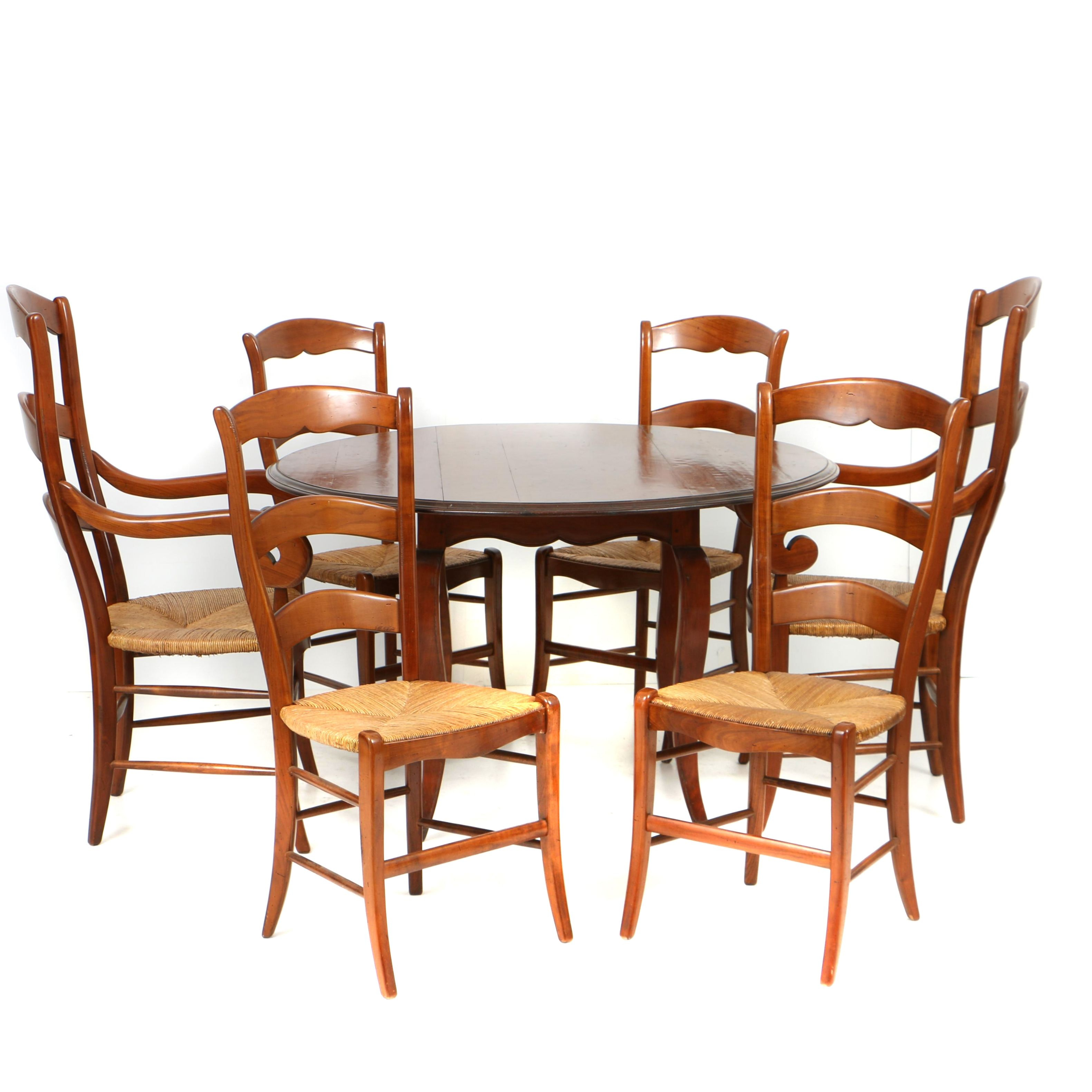 French Provincial Style Fruitwood Dining Table and Six Chairs