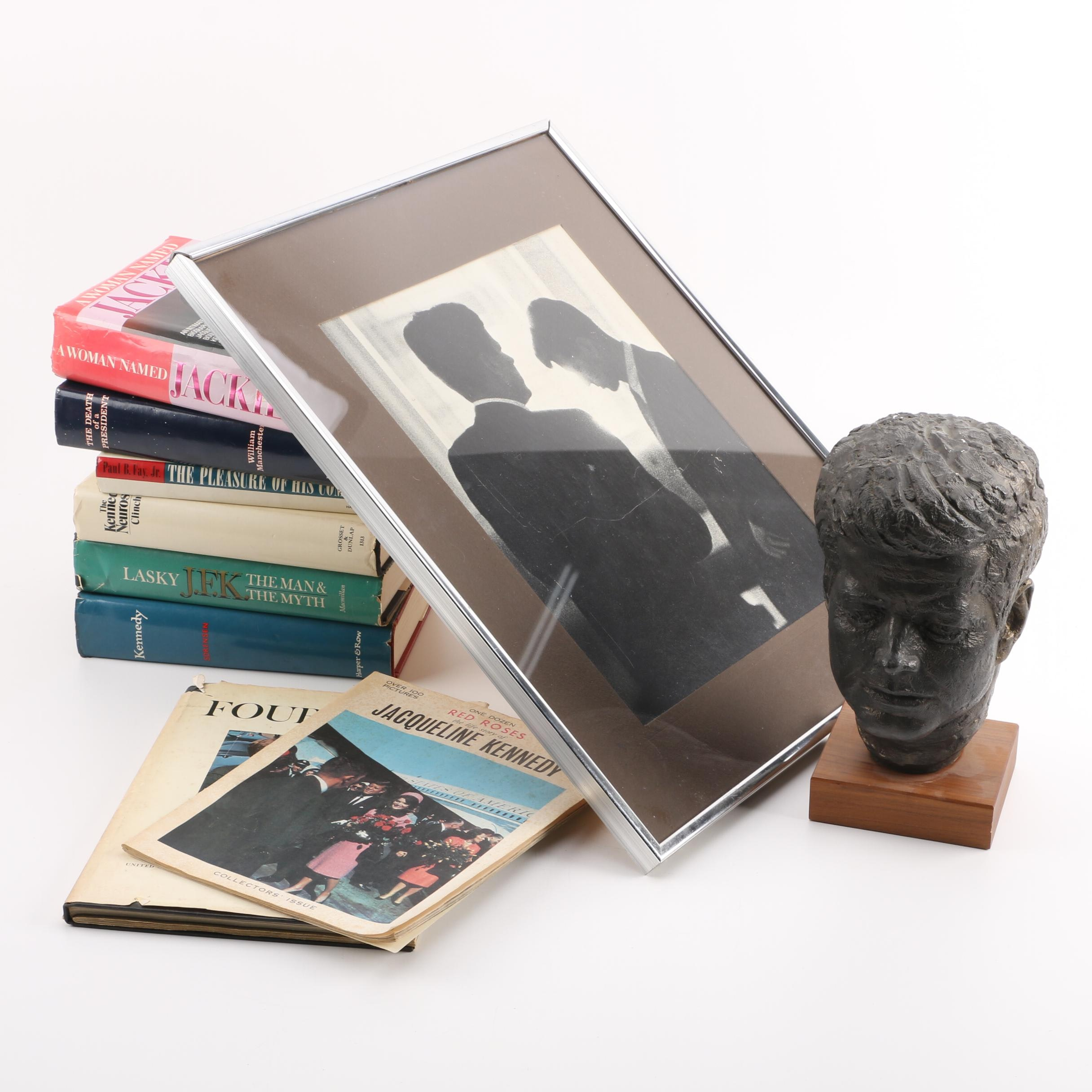 Books on John F. Kennedy and Ceramic Bust